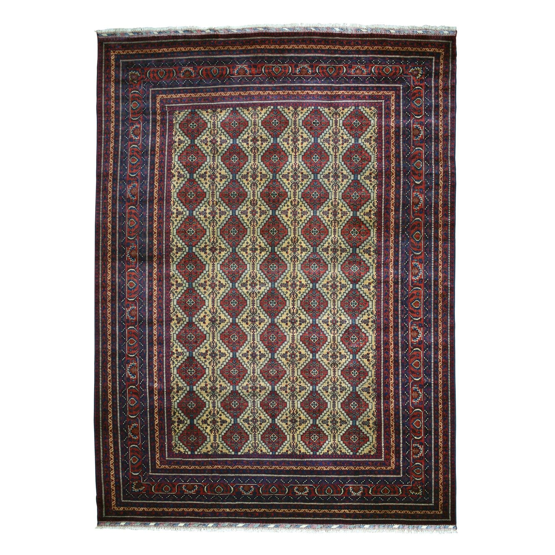 "9'7""X12'7"" Afghan Khamyab Vegetable Dyes Pure Wool Hand-Knotted Oriental Rug moaeaae9"