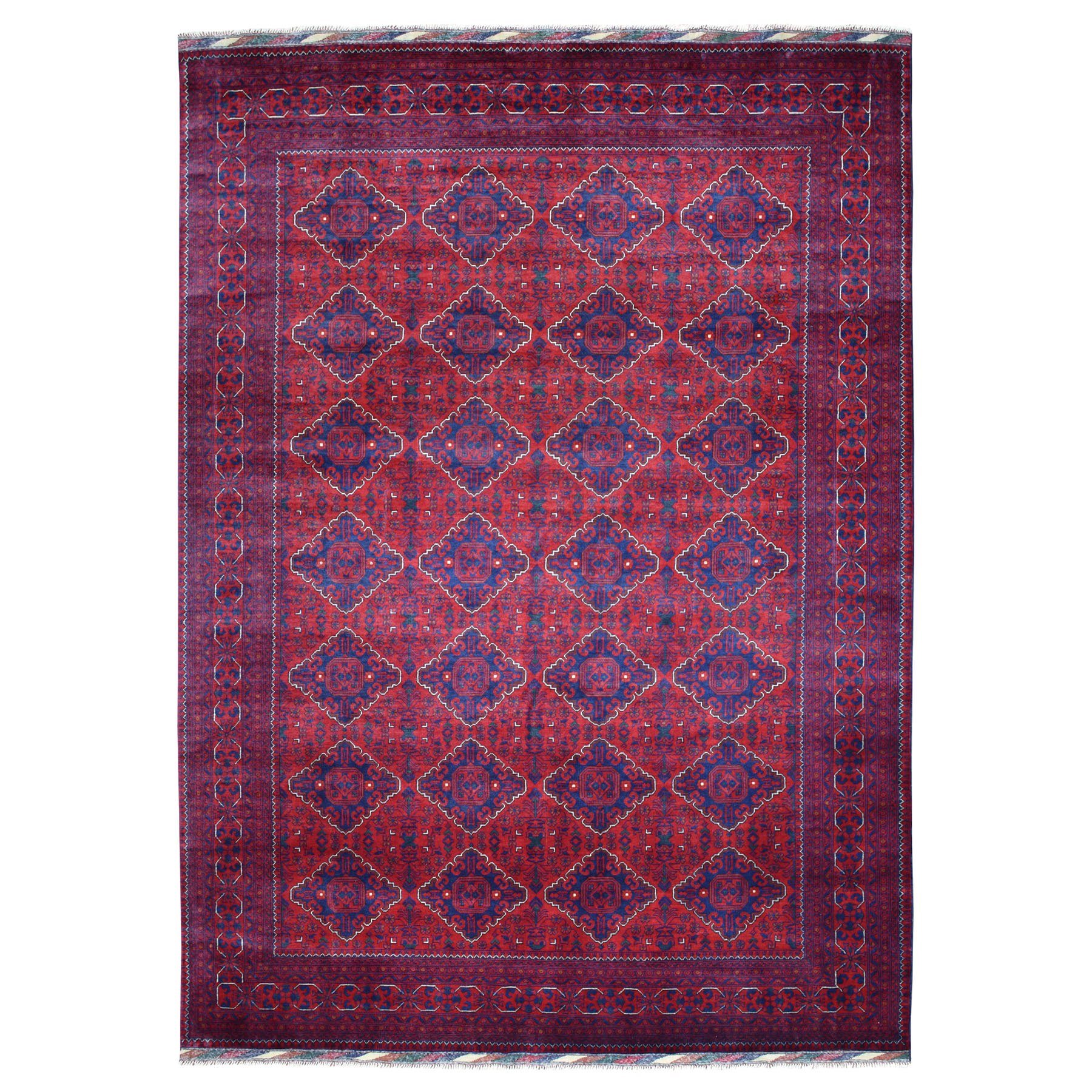 """8'1""""X11'2"""" Repetitive Design Pure Wool Afghan Khamyab Hand-Knotted Oriental Rug moaeaa6d"""