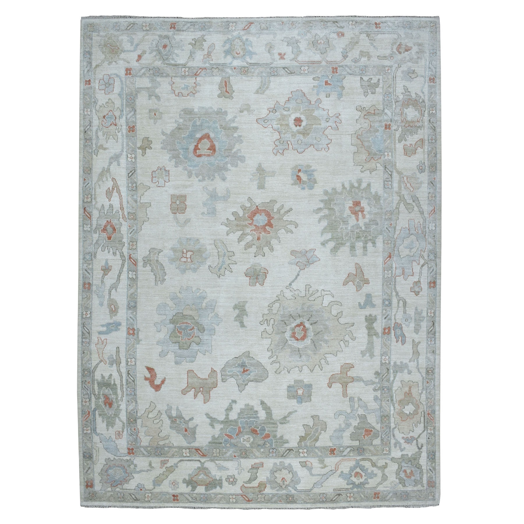 "8'10""X11'9"" Soft Angora Pure Wool Ivory Oushak Hand-Knotted Oriental Colorful Rug moaeaa67"