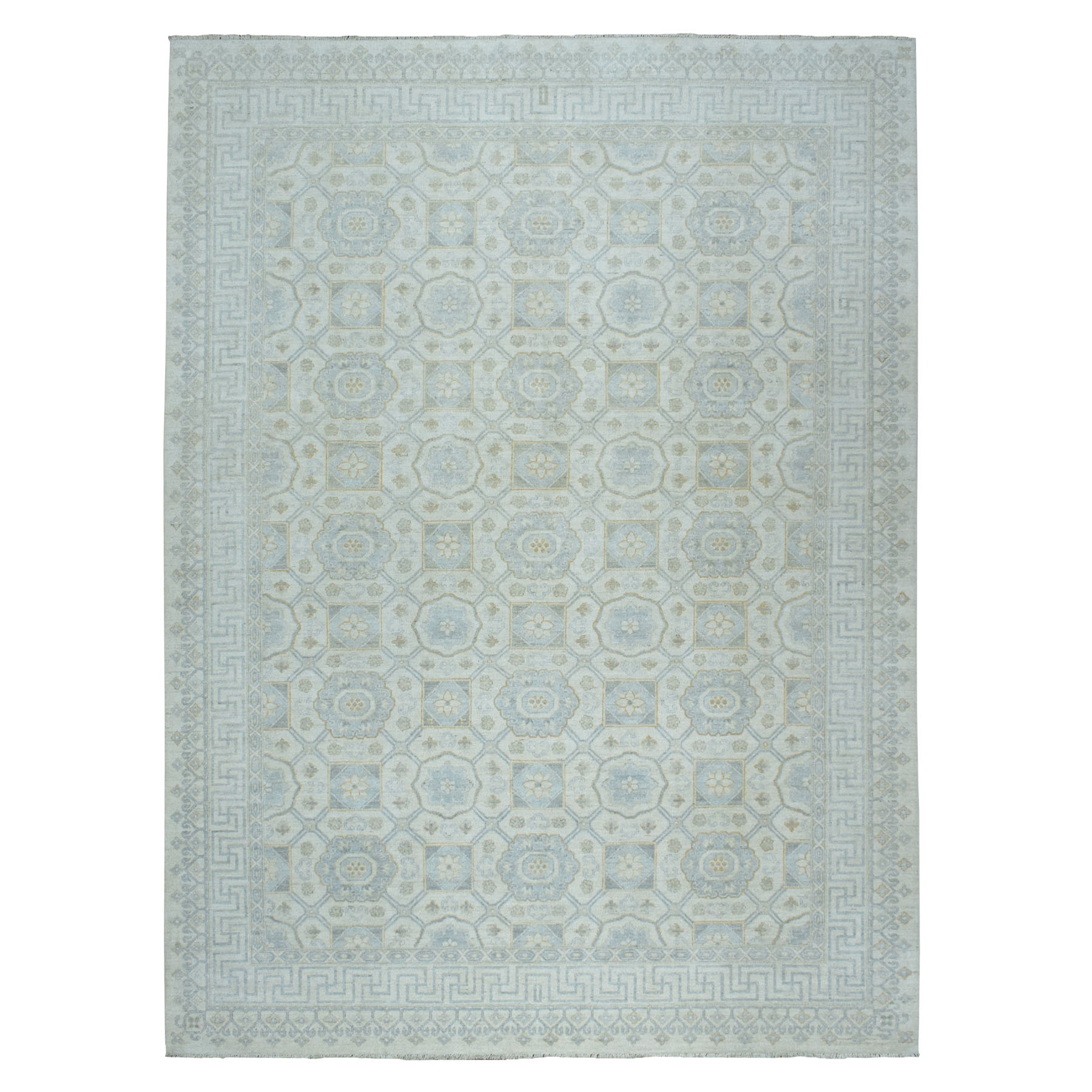 "9'X11'8"" White Wash Peshawar Khotan Hand-Knotted Pure Wool Oriental Rug moaeaa70"