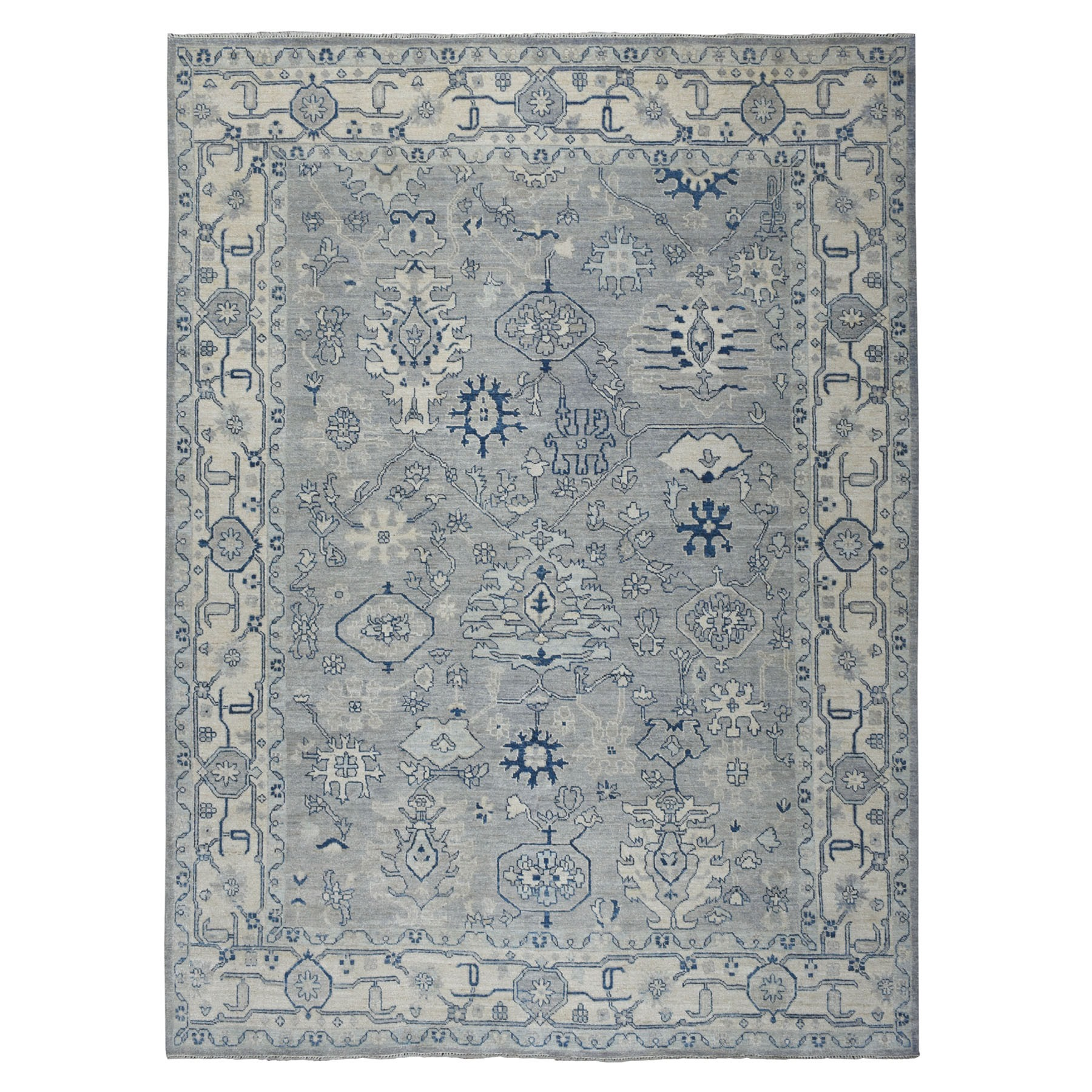 """9'X11'6"""" Soft Angora Pure Wool Gray Oushak Hand-Knotted Oriental Rug moaeaa7a"""