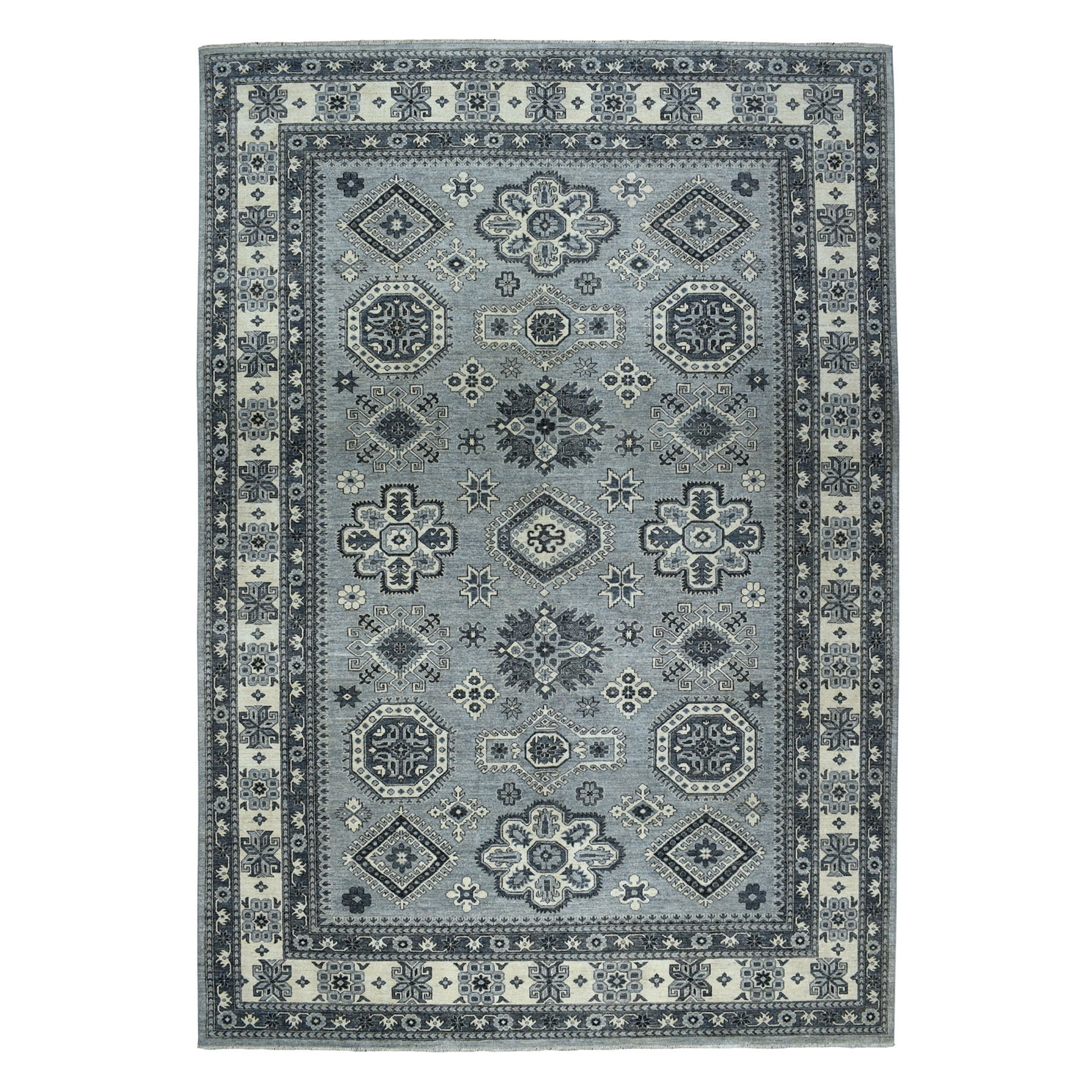 """9'9""""x13'7"""" Gray Pure Wool Hand-Knotted Peshawar With Karajeh Design Oriental Rug"""