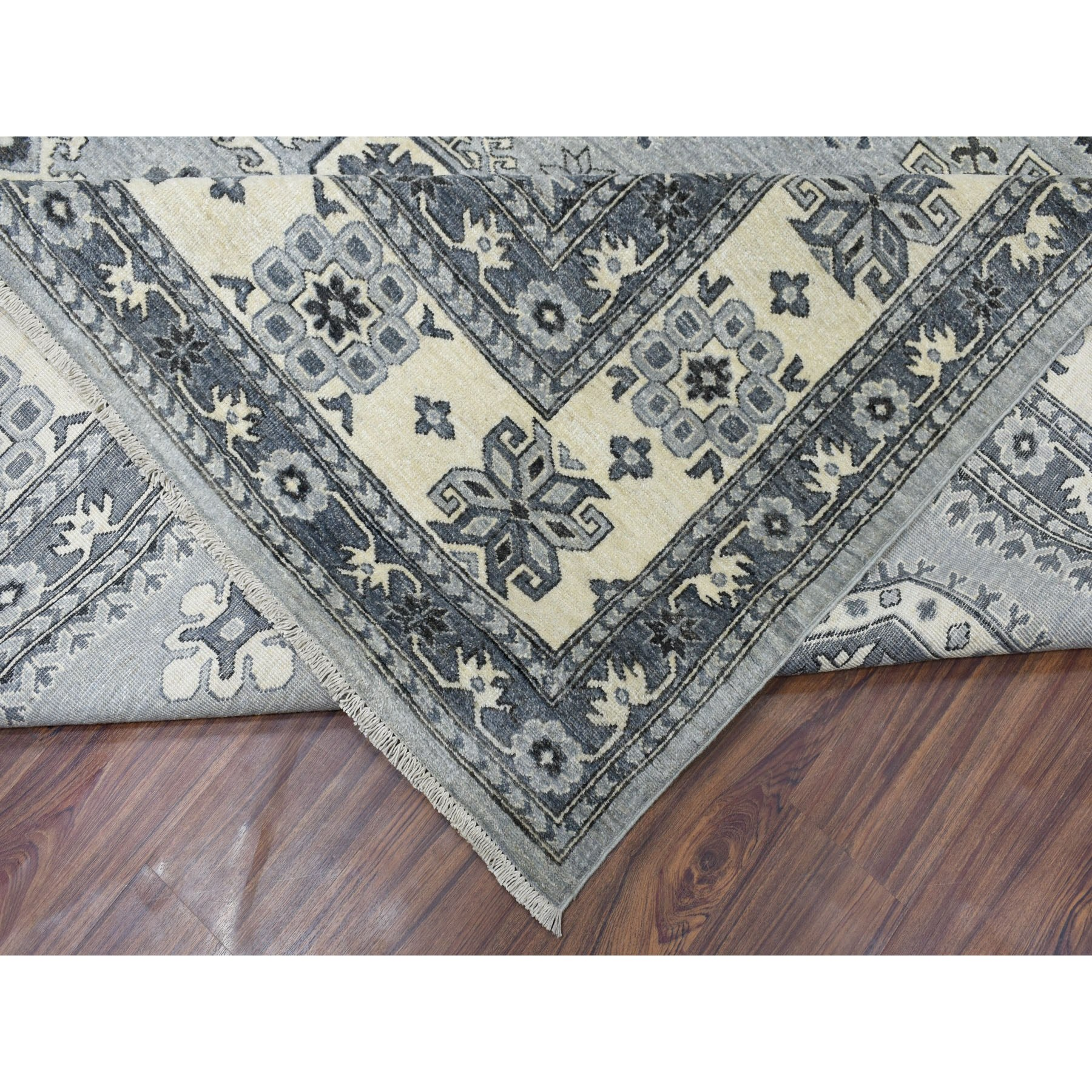 9-9 x13-7  Gray Pure Wool Hand-Knotted Peshawar With Karajeh Design Oriental Rug