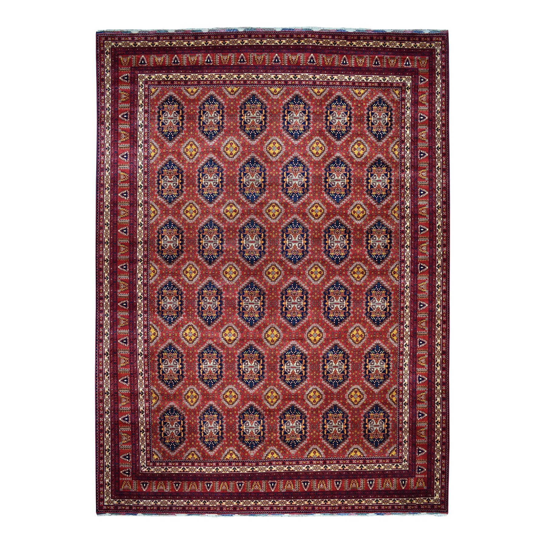 """10'1""""x12'5"""" Repetitive Design Pure Wool Afghan Khamyab Hand-Knotted Oriental Rug 51176"""