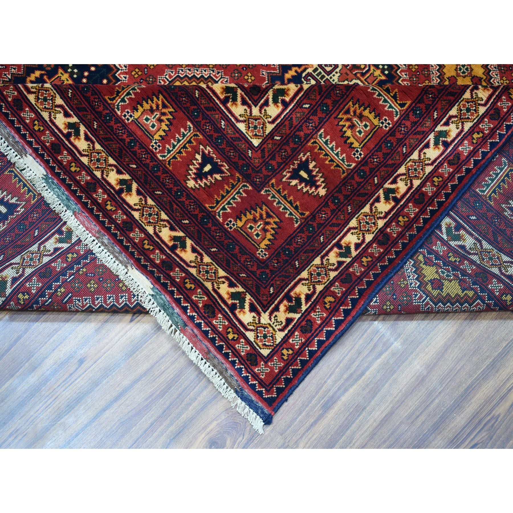 """10'1""""x12'5"""" Repetitive Design Pure Wool Afghan Khamyab Hand-Knotted Oriental Rug"""