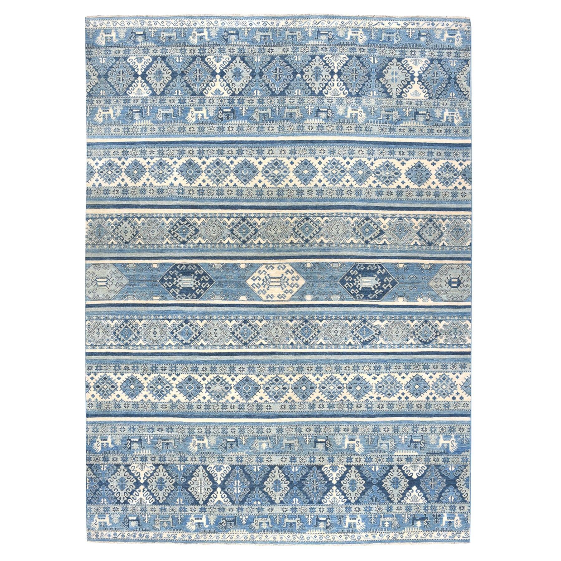 "9'x11'8"" Blue Super Kazak Khorjin Design Pure Wool Hand-Knotted Oriental Rug"