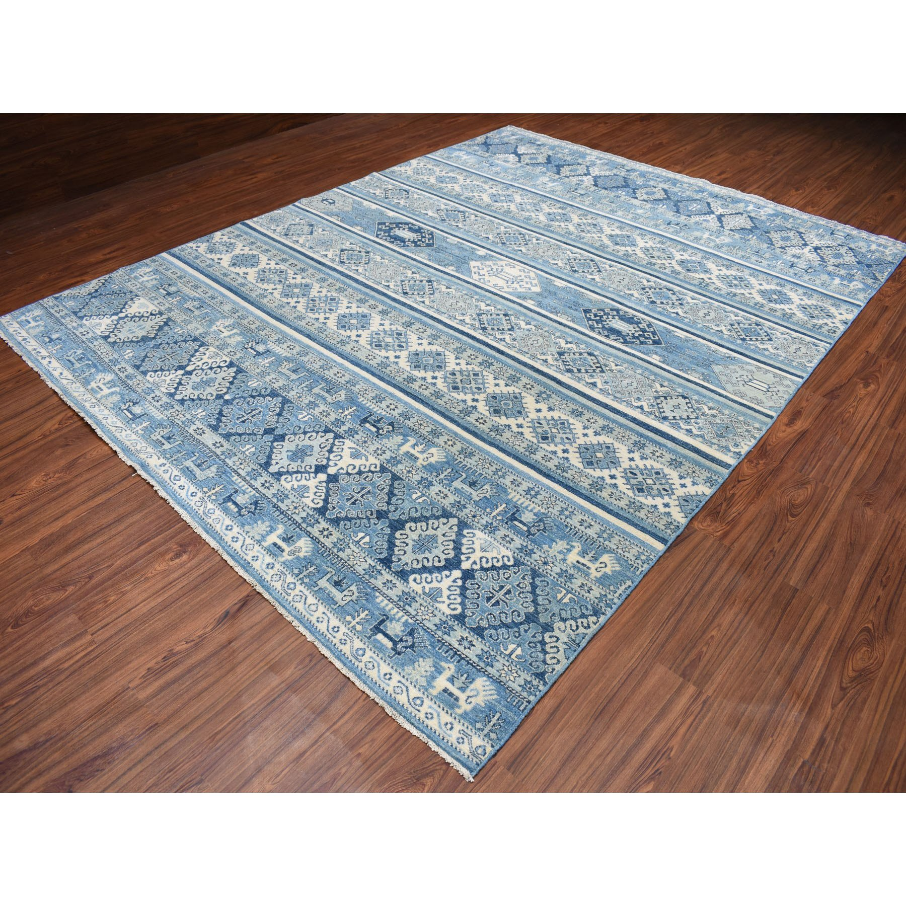 9-x11-8  Blue Super Kazak Khorjin Design Pure Wool Hand-Knotted Oriental Rug