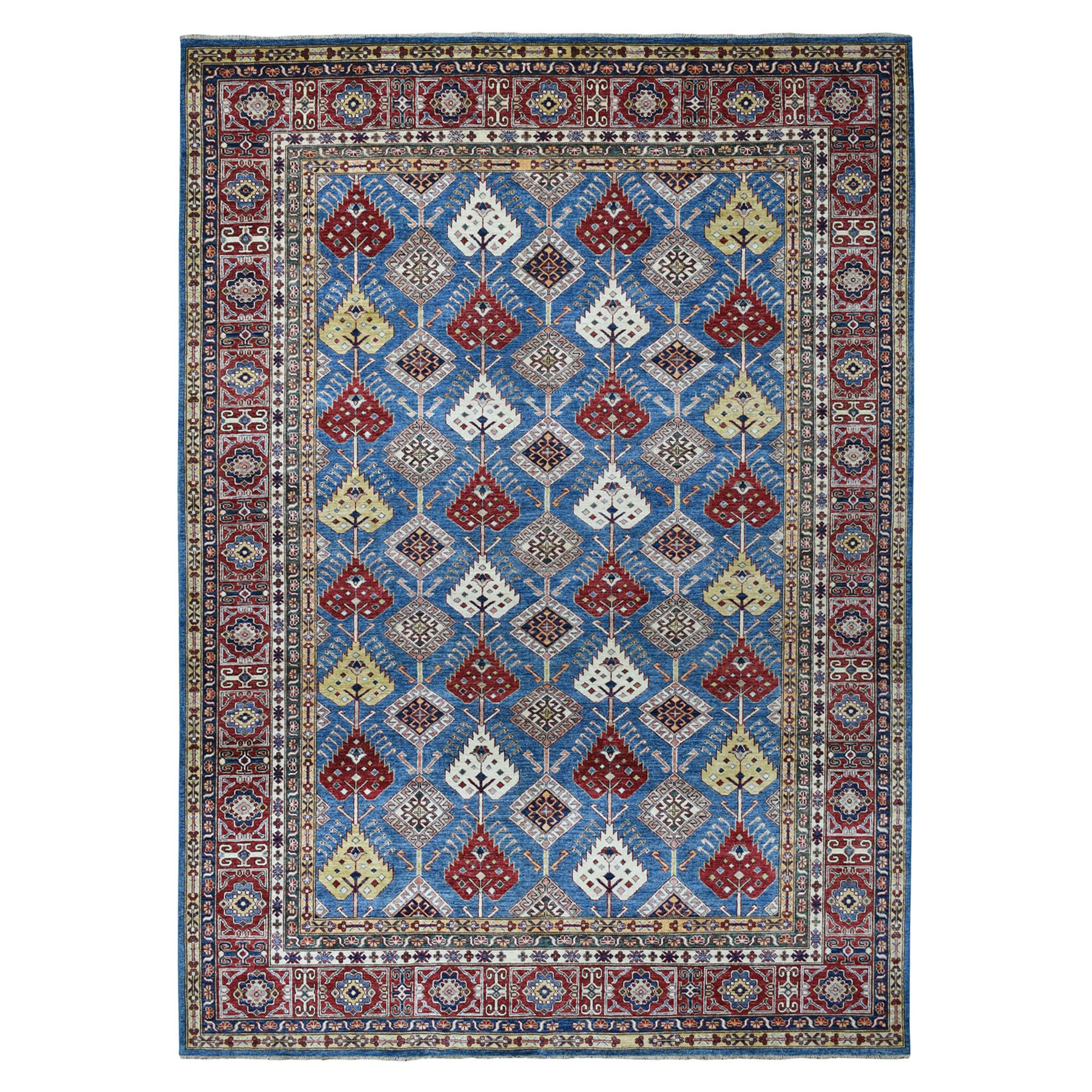"8'4""X11'2"" Blue Super Kazak All Over Design Pure Wool Hand-Knotted Oriental Rug moaeaa80"