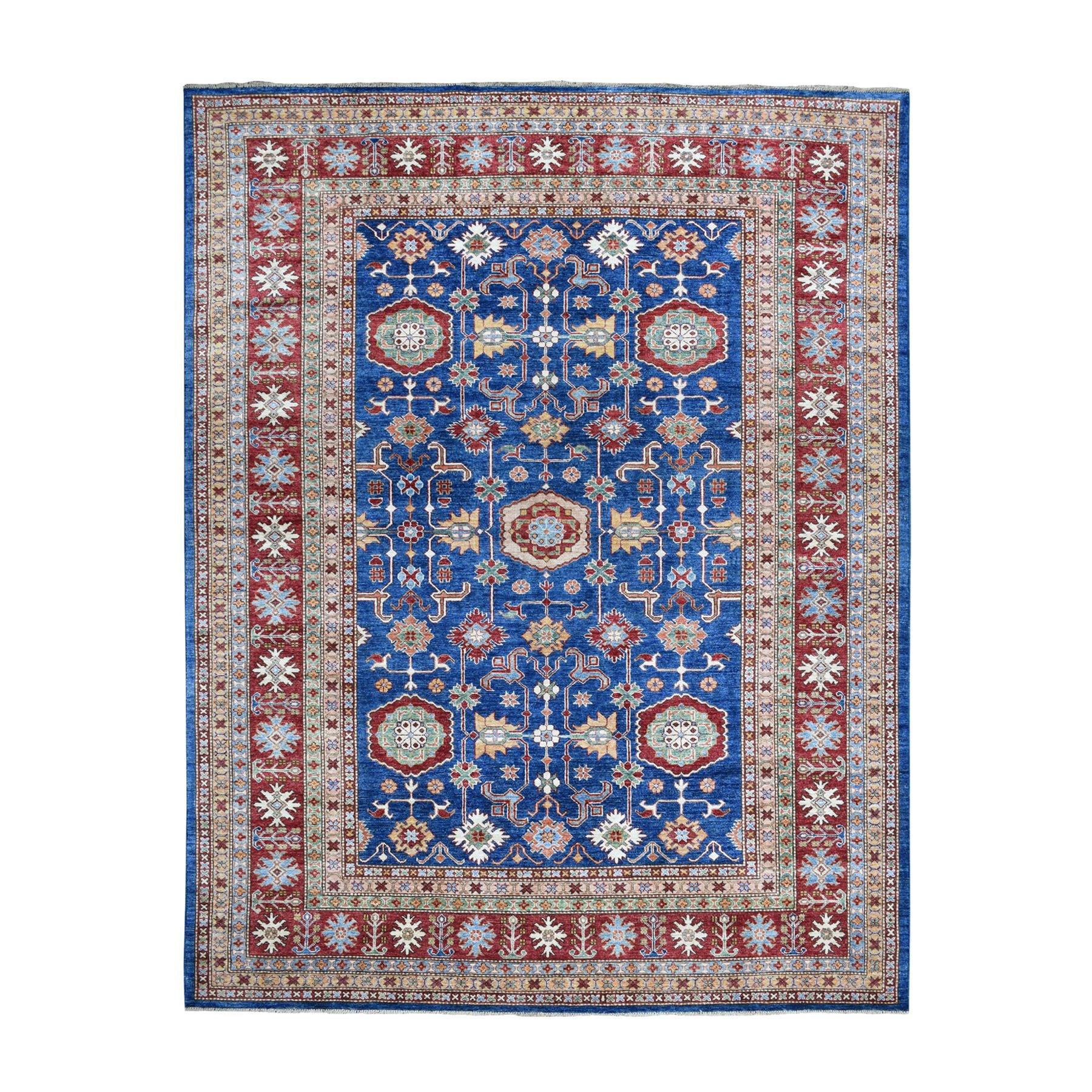 "8'X10'4"" Blue Super Kazak Geometric Design Pure Wool Hand-Knotted Oriental Rug moaeaa8a"