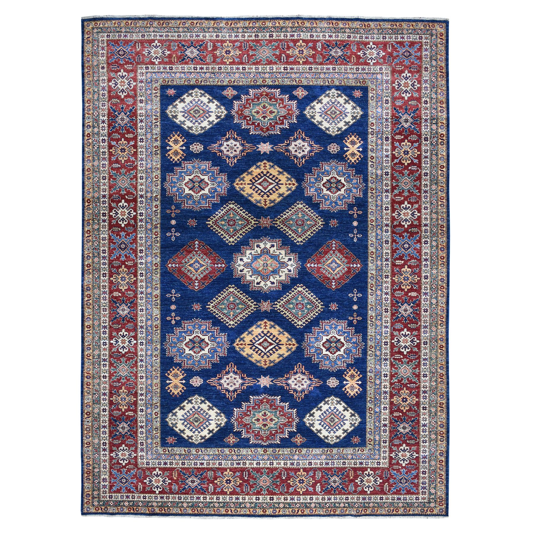 "9'X11'10"" Navy Blue Super Kazak Geometric Design Pure Wool Hand-Knotted Rug moaeaa8b"