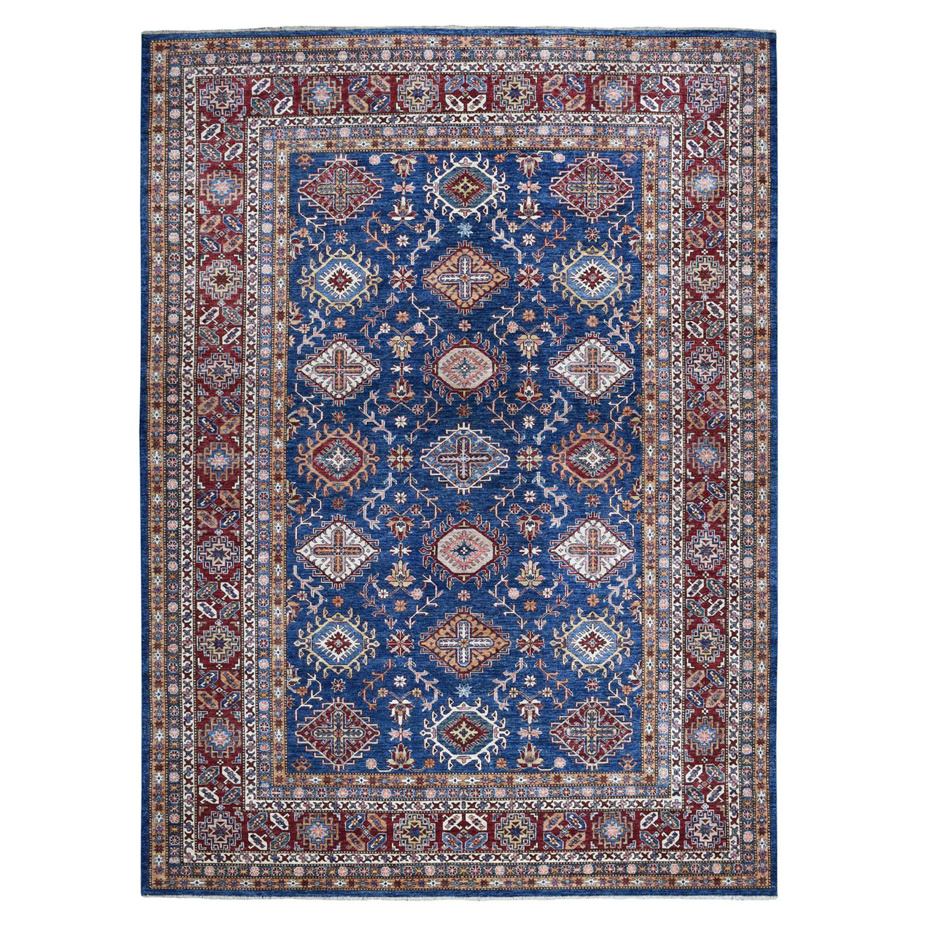 "9'1""X11'10"" Blue Super Kazak Geometric Design Pure Wool Hand-Knotted Oriental Rug moaeaa8e"