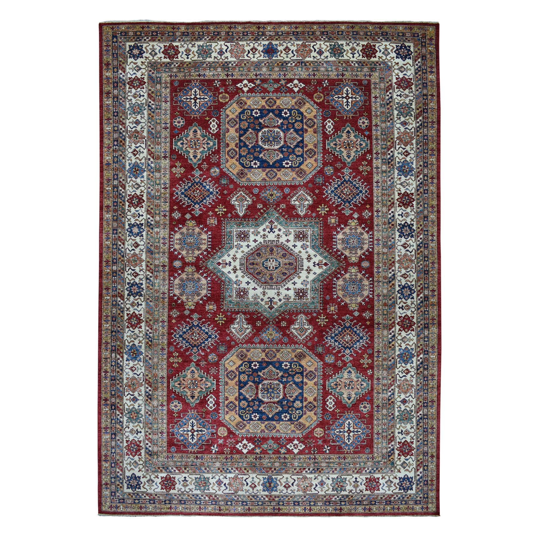 "10'3""X13'10"" Red Super Kazak Pure Wool Geometric Design Hand-Knotted Oriental Rug moaeaa86"