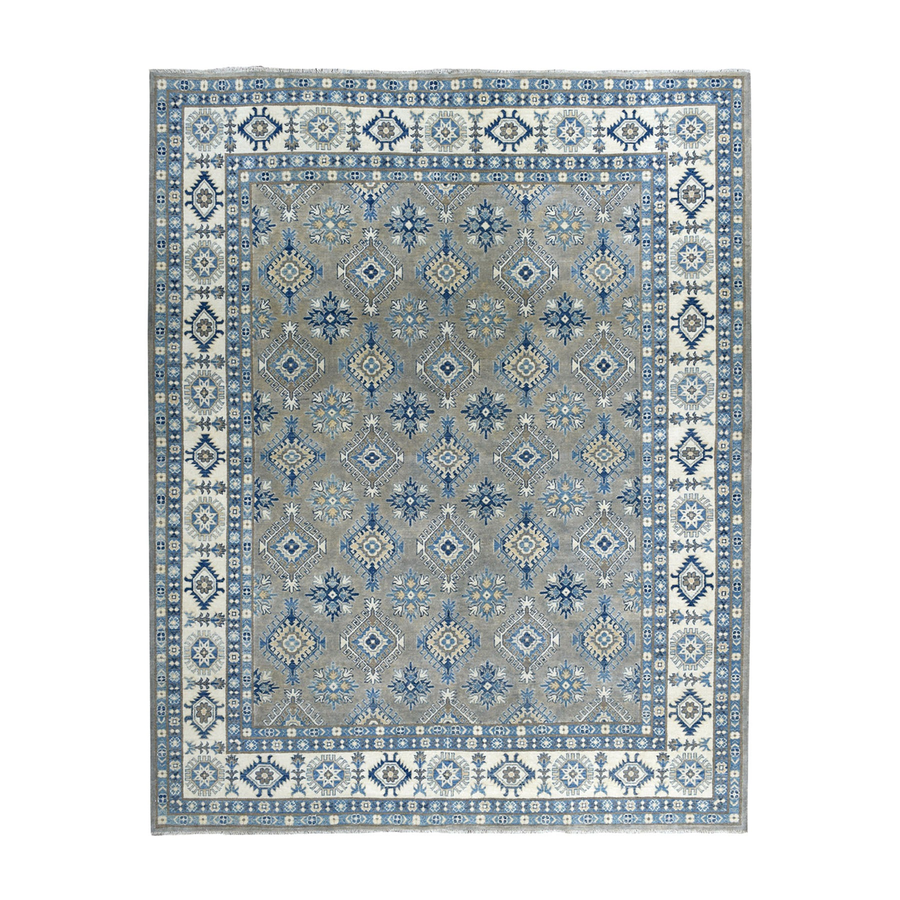 "8'1""X9'8"" Gray Vintage Look Kazak Geometric Design Hand-Knotted Oriental Rug moaeaa87"