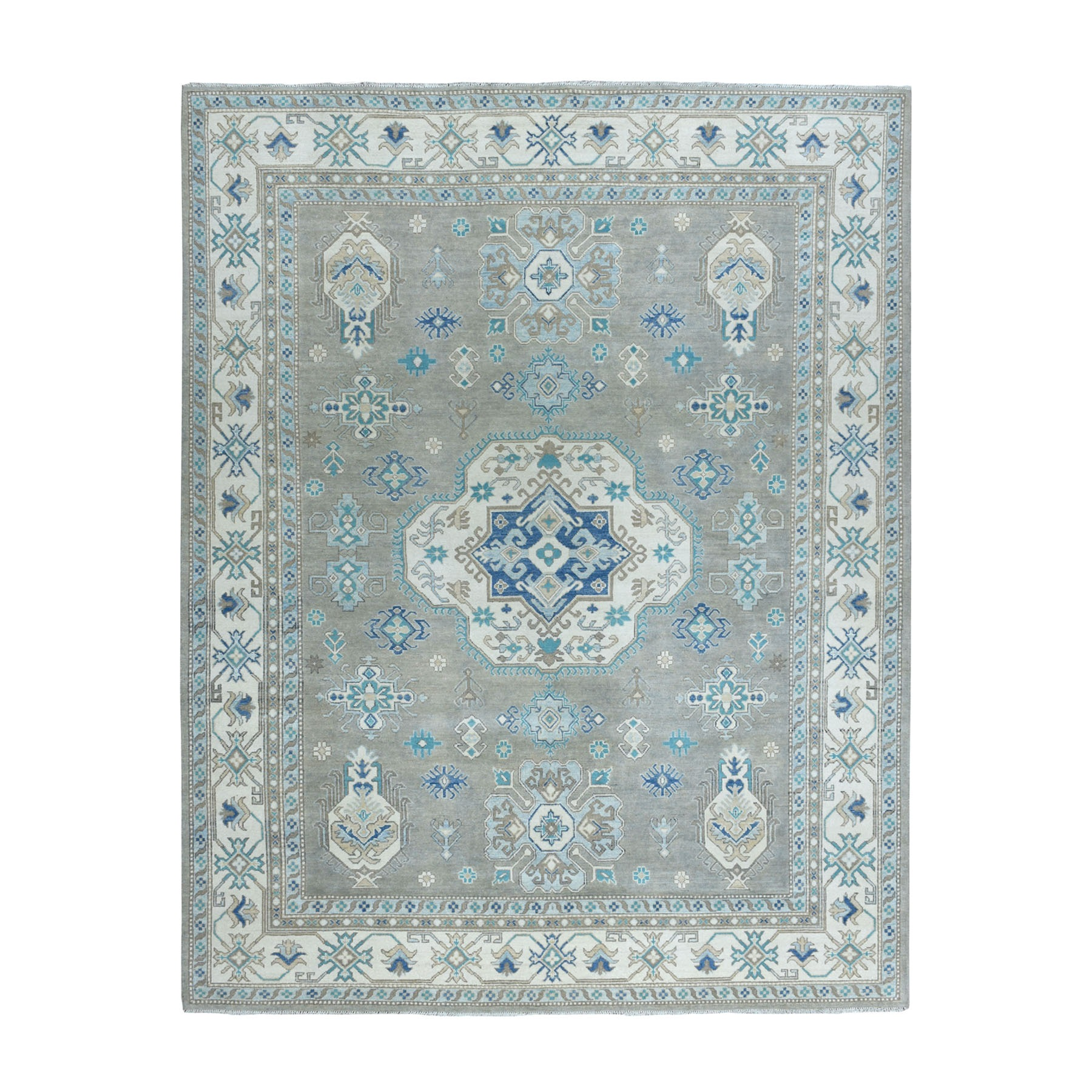 "8'X9'10"" Gray Vintage Look Kazak Geometric Design Hand-Knotted Oriental Rug moaeaa9b"