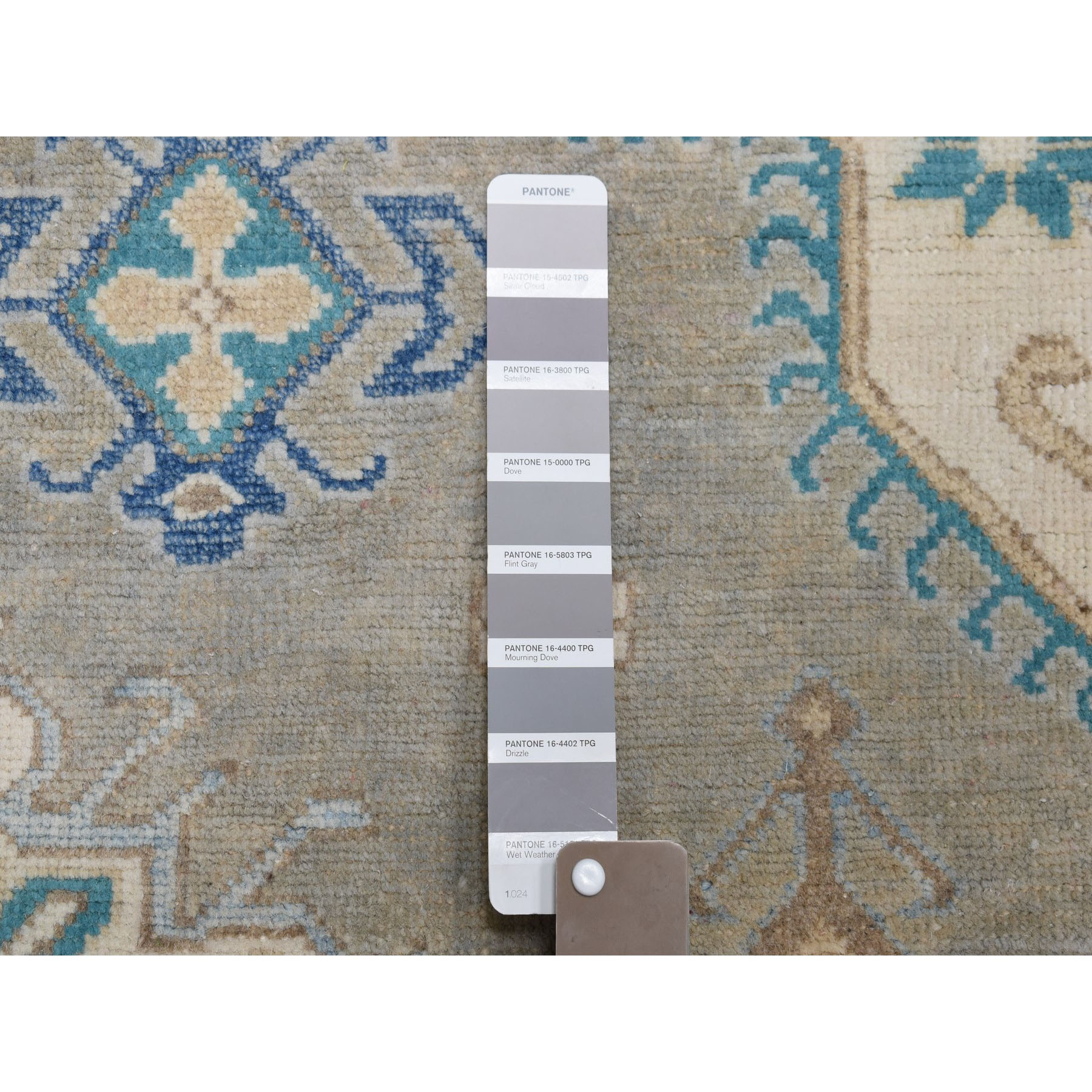 8-x9-10  Gray Vintage Look Kazak Geometric Design Hand-Knotted Oriental Rug