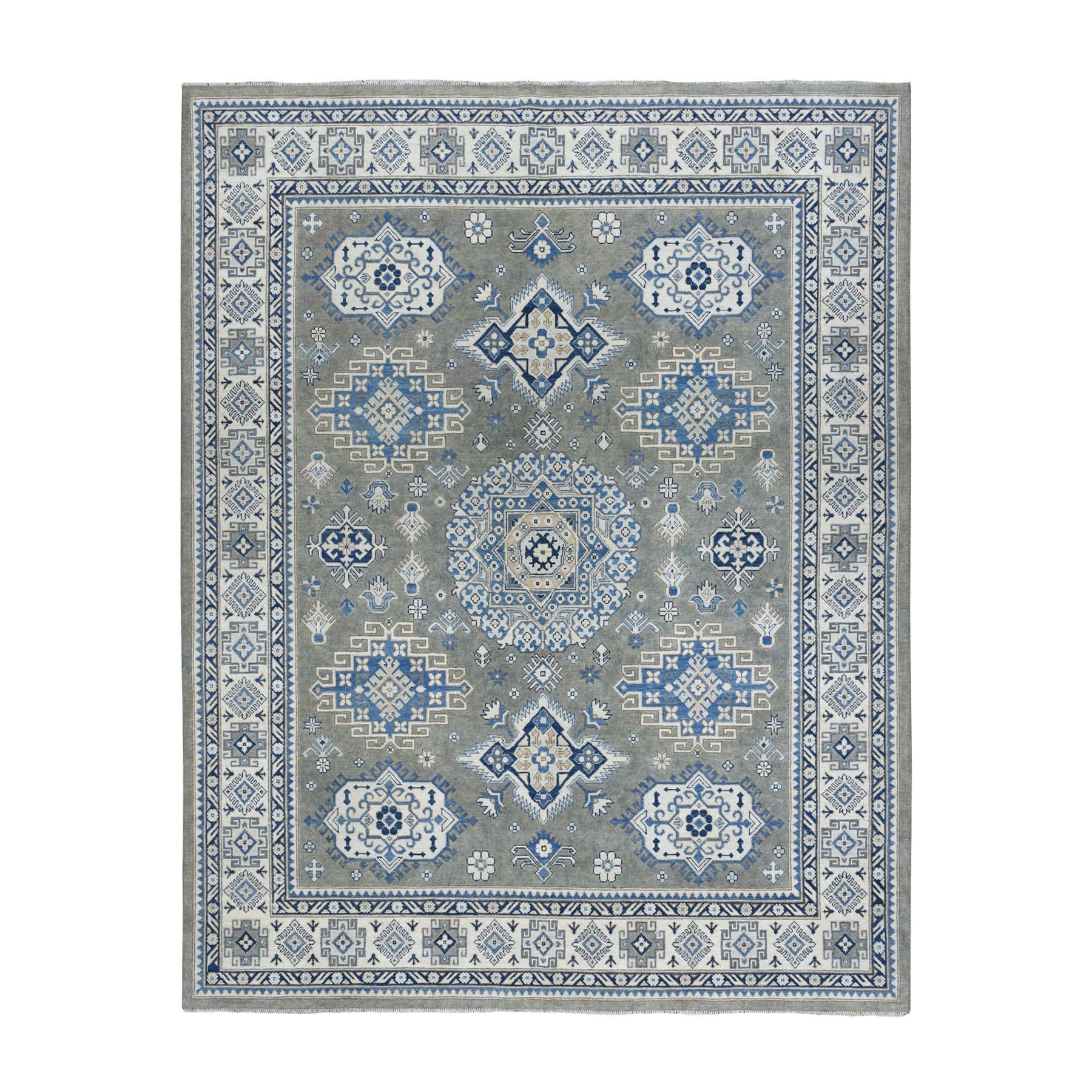 "7'10""x10' Gray Vintage Look Kazak Geometric Design Hand-Knotted Oriental Rug"