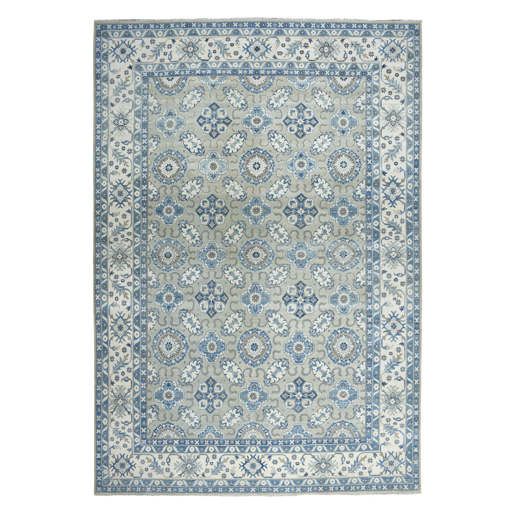 "9'9""X13'7"" Gray Vintage Look Kazak Geometric Design Hand-Knotted Oriental Rug moaeaa9e"