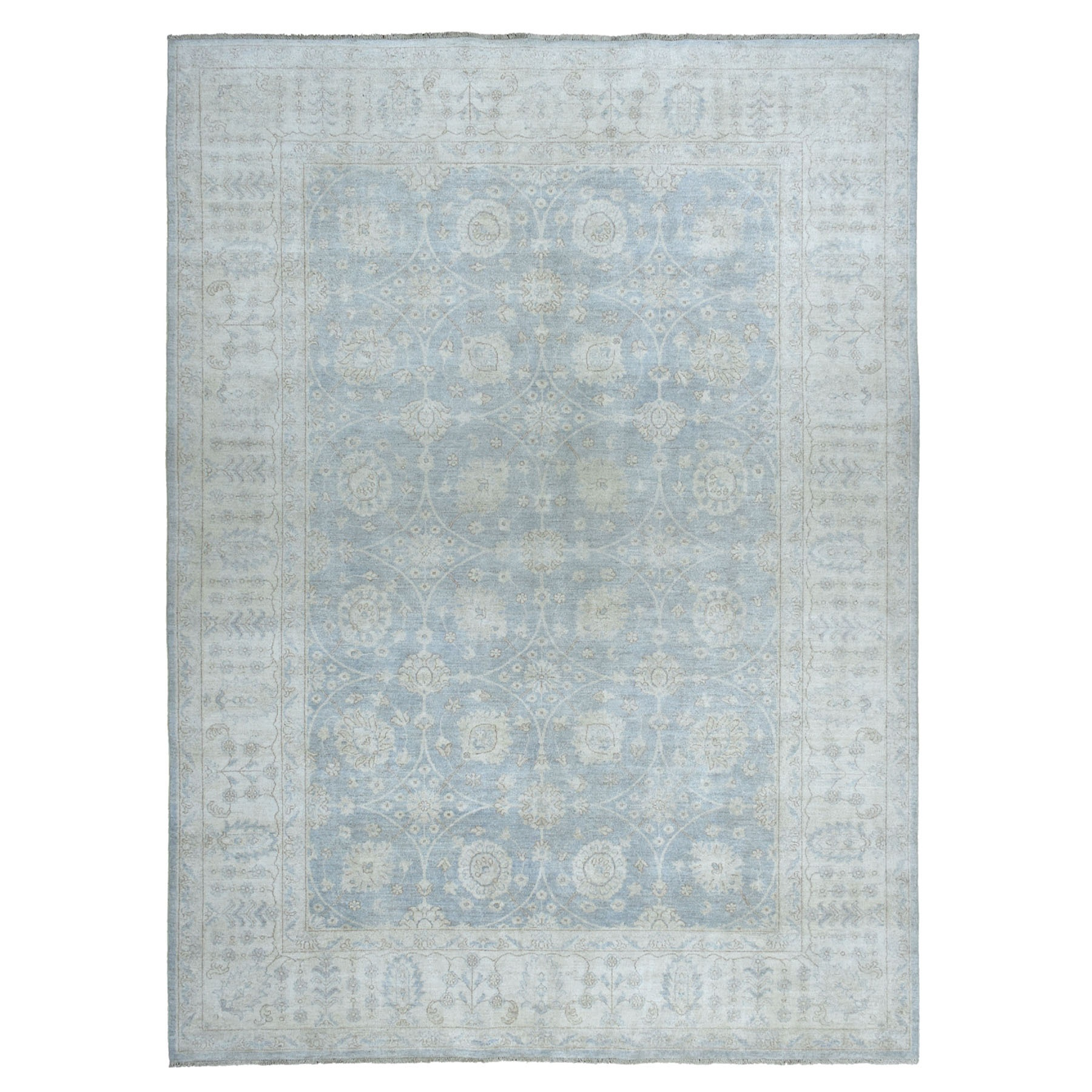 """8'8""""X11'6"""" White Wash Peshawar Pure Wool Hand-Knotted Oriental Rug moaeaa98"""