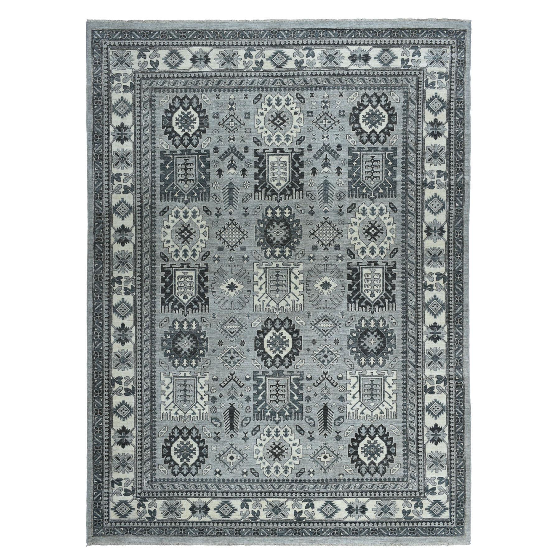 "9'3""X11'10"" Gray Pure Wool Hand-Knotted Peshawar With Karajeh Design Oriental Rug moaeaa99"