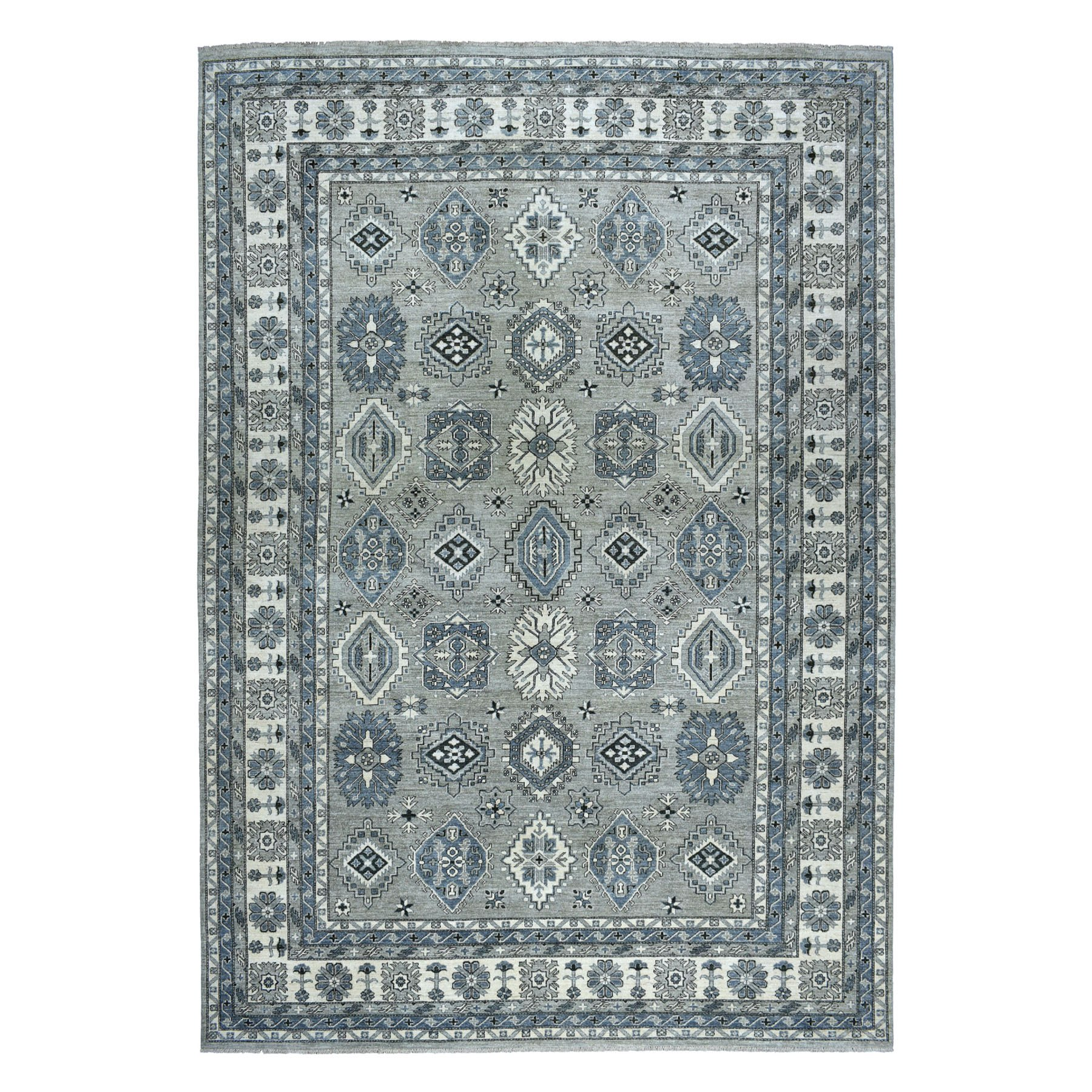 "10'1""X13'8"" Gray Pure Wool Hand-Knotted Peshawar With Karajeh Design Oriental Rug moaeab0a"