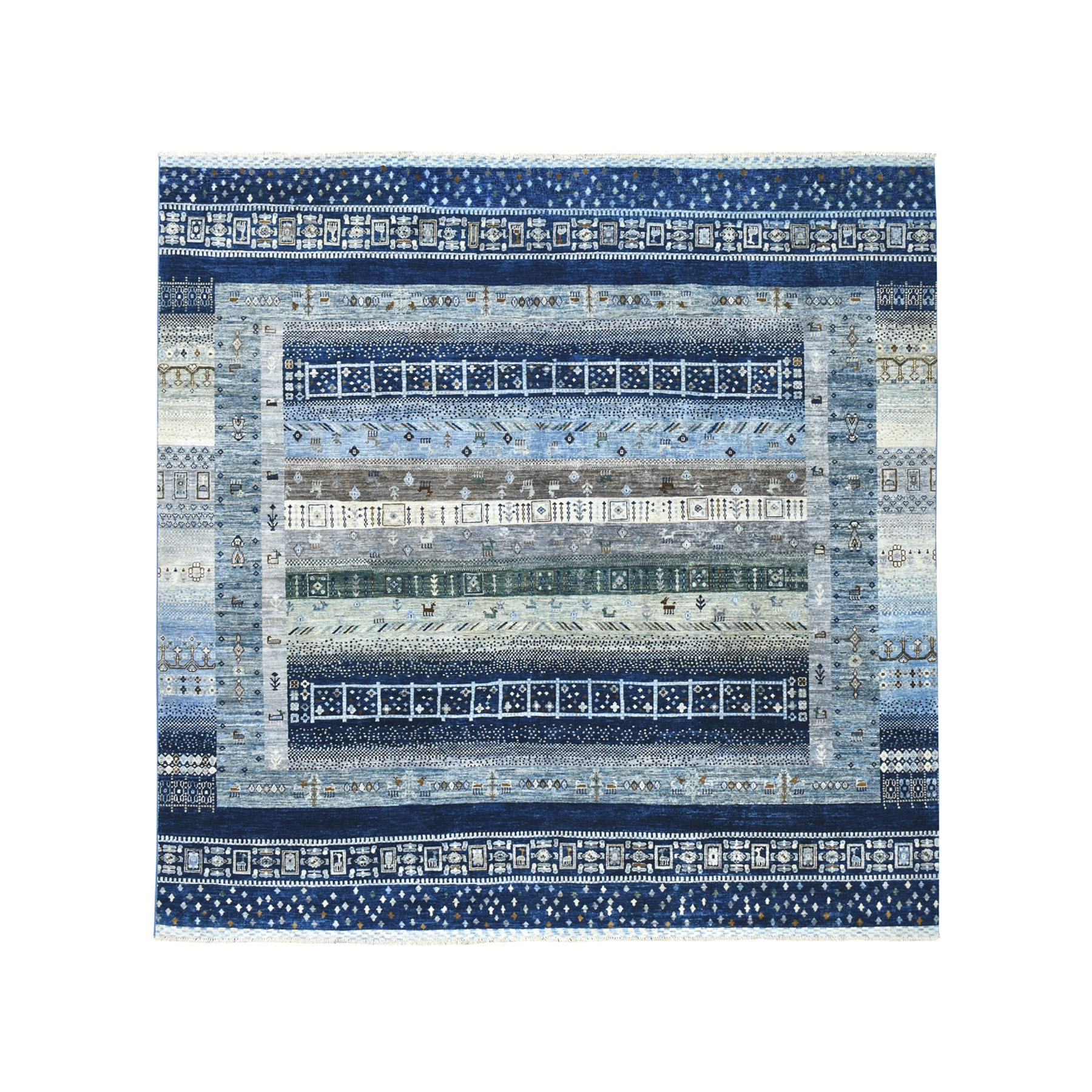 "8'X8'9"" Squarish Blue Kashkuli Gabbeh Pictorial Pure Wool Hand-Knotted Oriental Rug moaeab0e"