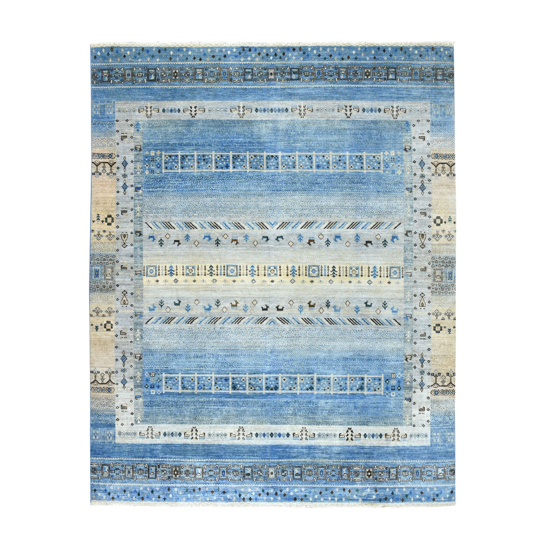 "8'x9'9"" Blue Kashkuli Gabbeh Pictorial Pure wool Hand-knotted Oriental Rug"
