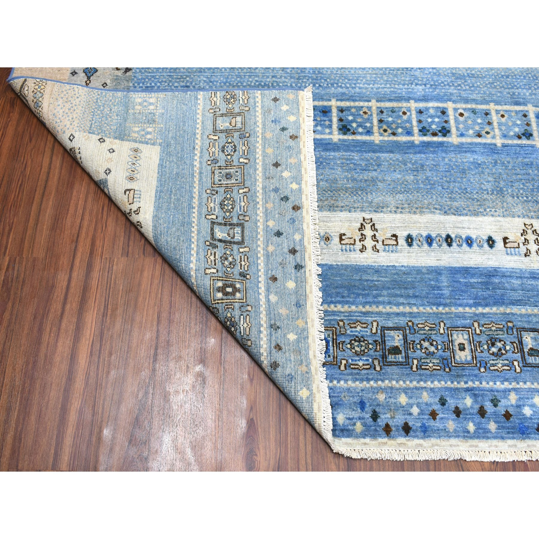 """8'x9'9"""" Blue Kashkuli Gabbeh Pictorial Pure wool Hand-knotted Oriental Rug"""