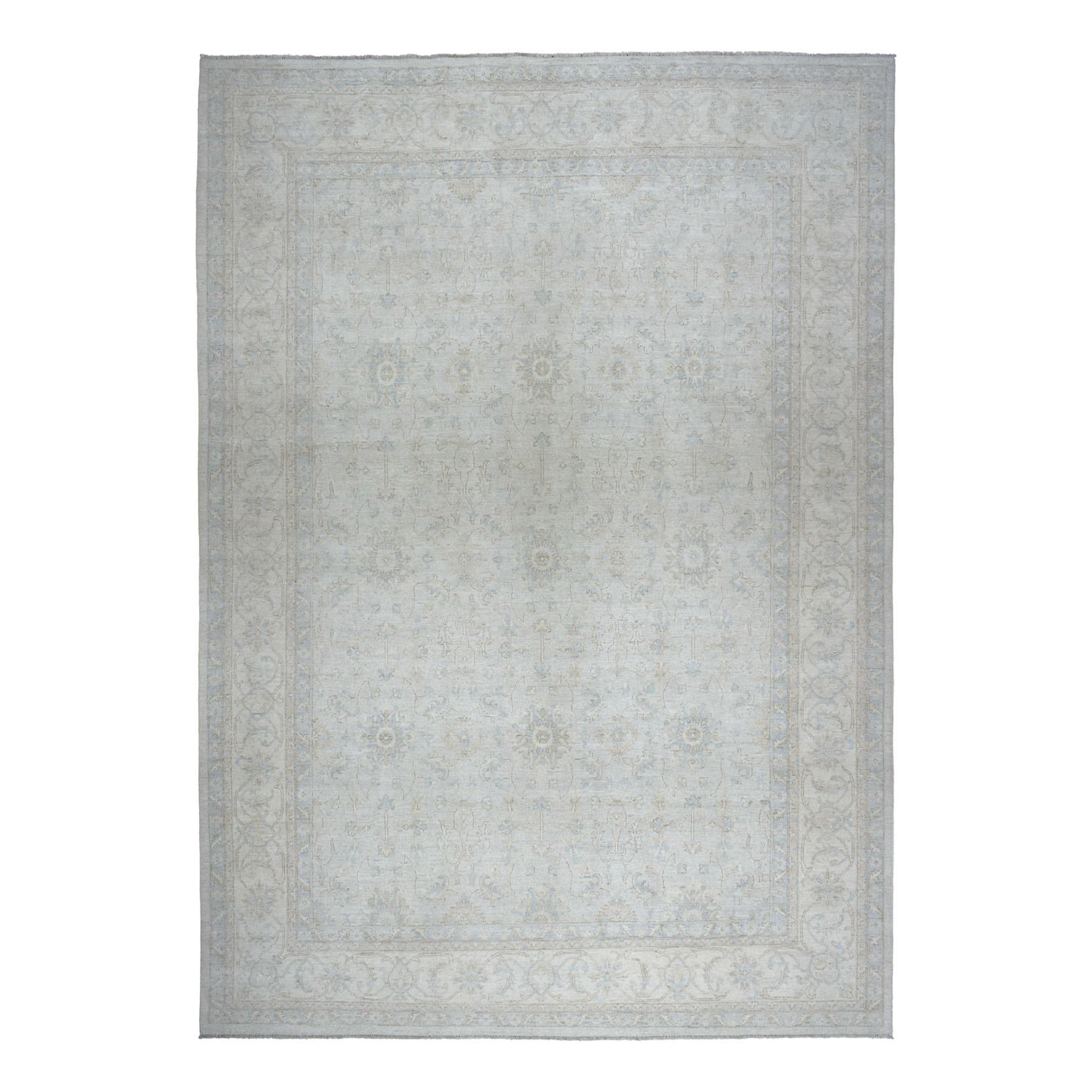 "12'X14'7"" Oversized White Wash Peshawar Pure Wool Hand-Knotted Oriental Rug moaeab09"