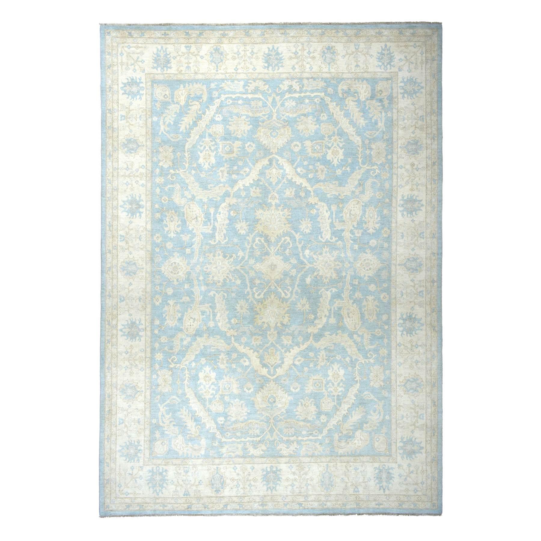 "11'6""X14'5"" Oversized White Wash Peshawar Pure Wool Hand-Knotted Oriental Rug moaeaba0"