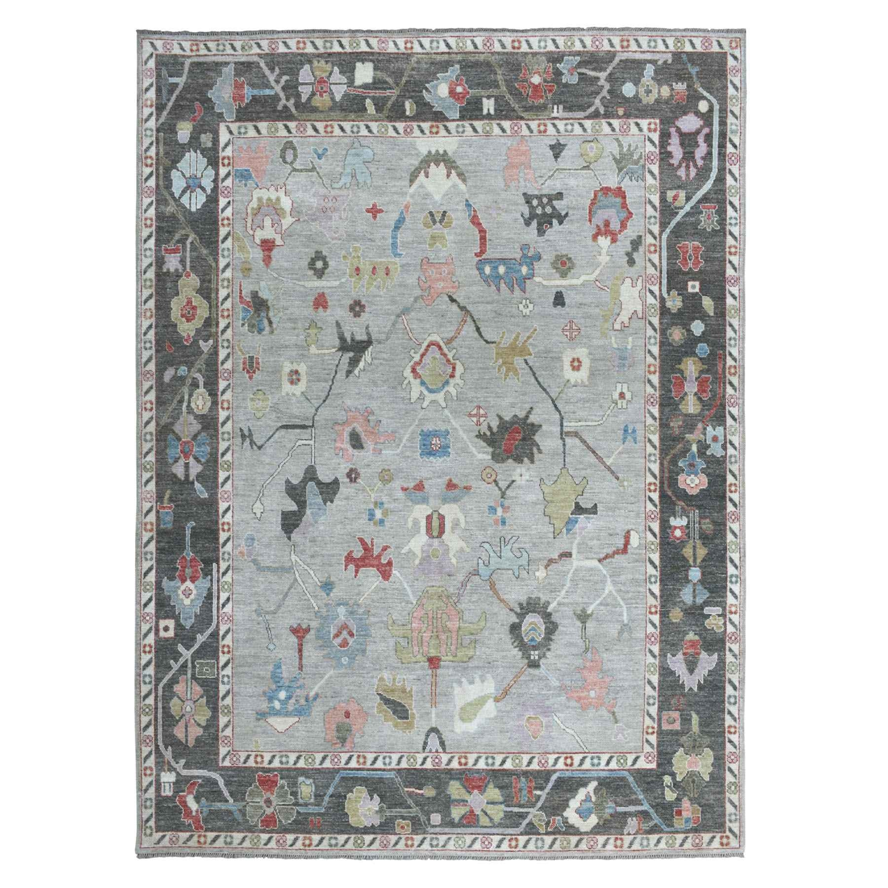 """8'9""""X11'9"""" Soft Angora Pure Wool Gray Oushak Hand-Knotted Oriental Colorful Rug moaeabac"""