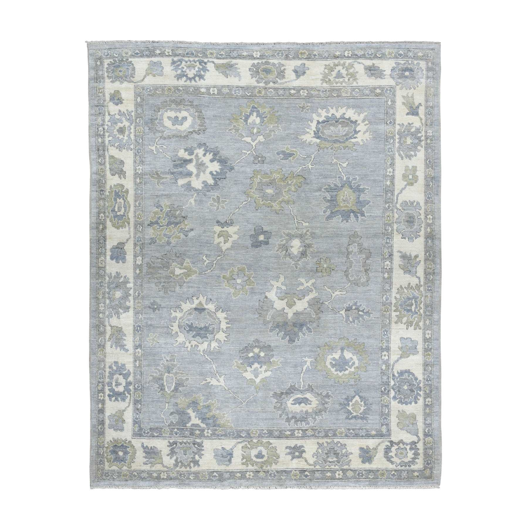 "7'8""X9'10"" Soft Angora Pure Wool Gray Oushak Hand-Knotted Oriental Rug moaeabad"
