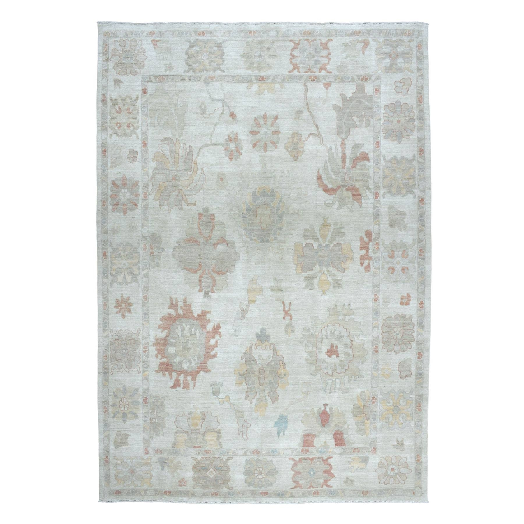 "9'10""X13'5"" Soft Angora Pure Wool Gray Oushak Hand-Knotted Oriental Rug moaeaba6"