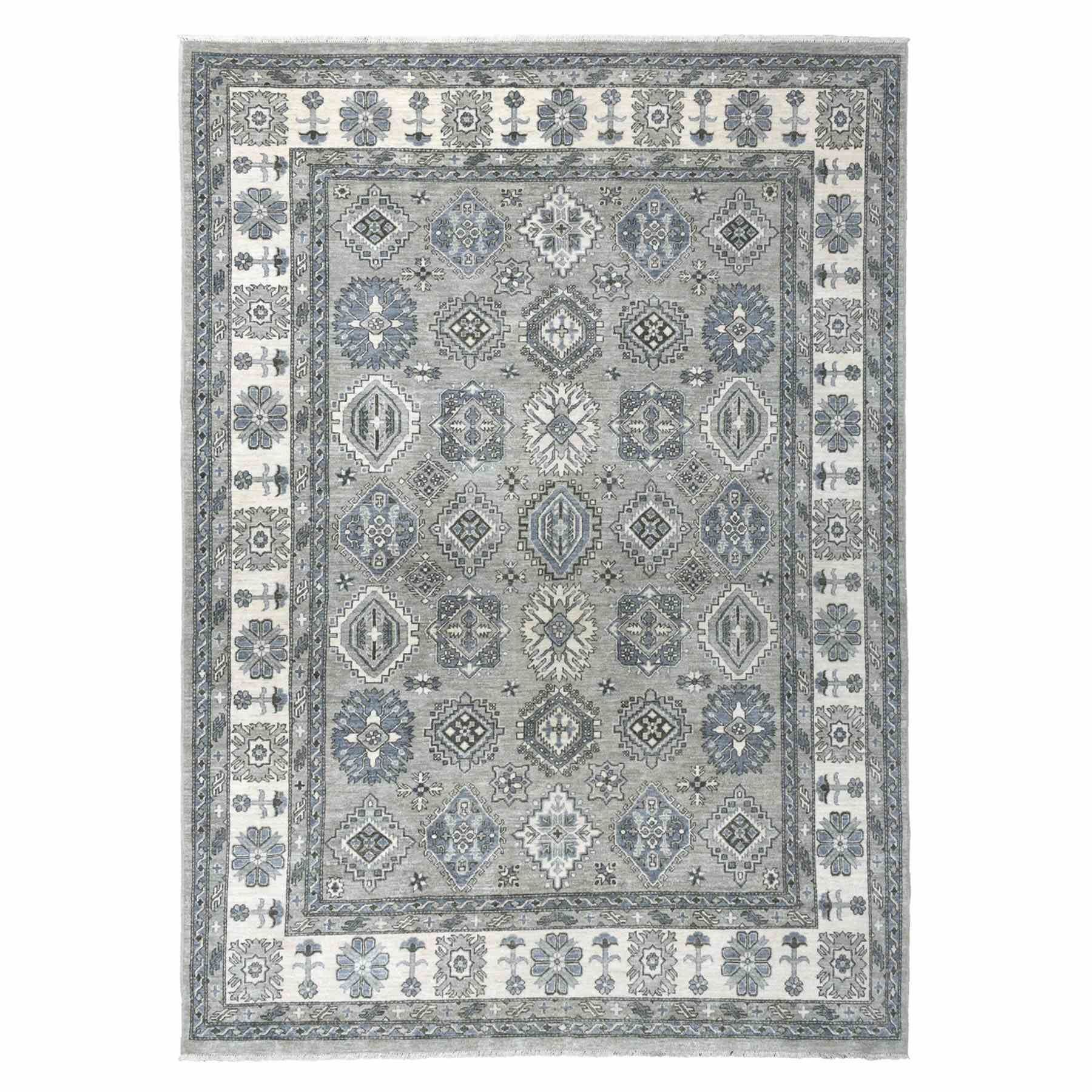 "8'X11'3"" Gray Pure Wool Hand-Knotted Peshawar With Karajeh Design Oriental Rug moaeaba8"