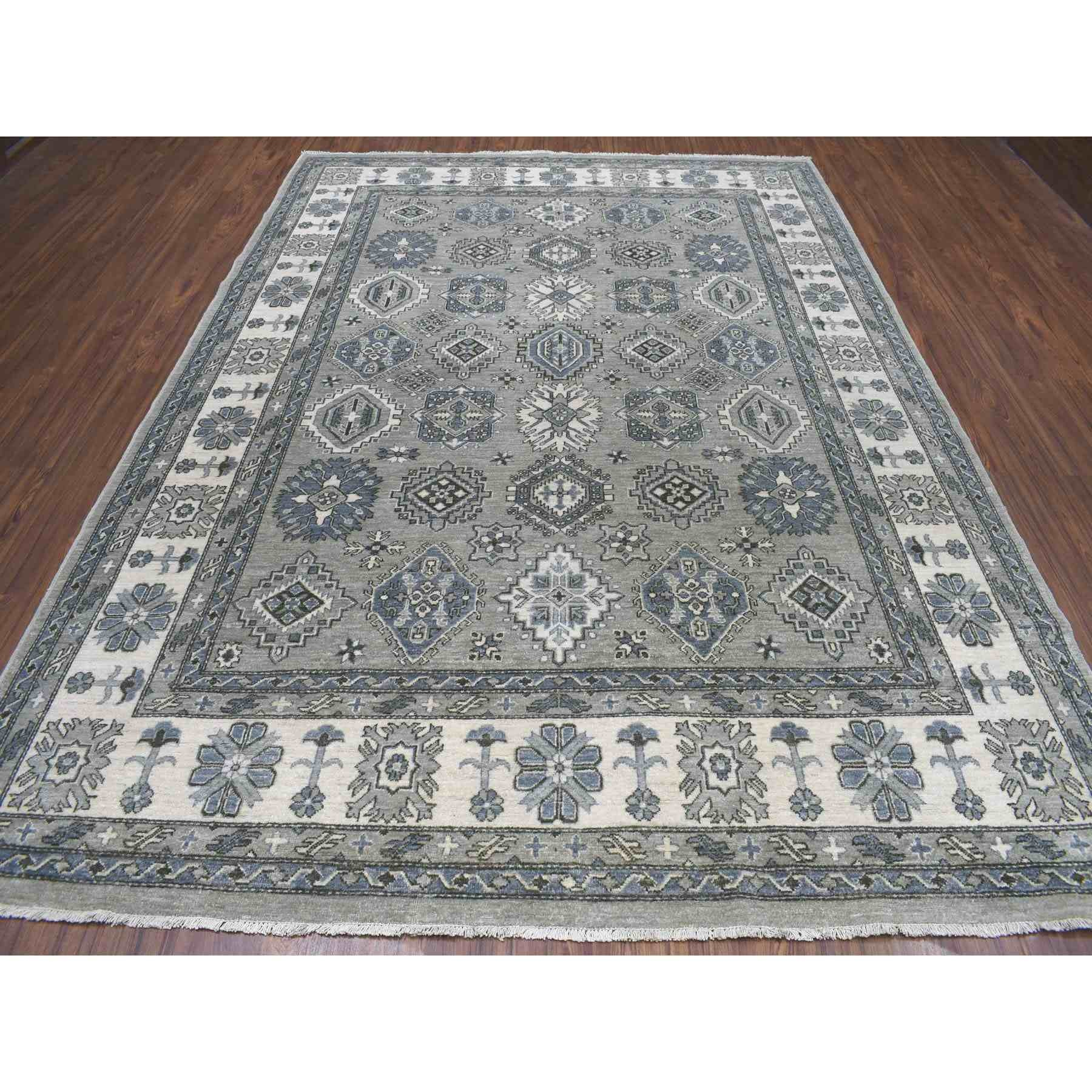 8-x11-3  Gray Pure Wool Hand-Knotted Peshawar With Karajeh Design Oriental Rug
