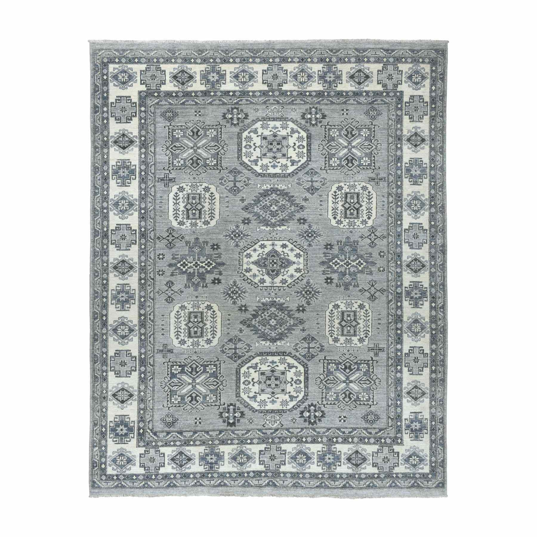 8'X10' Gray Pure Wool Hand-Knotted Peshawar With Karajeh Design Oriental Rug moaeabb0