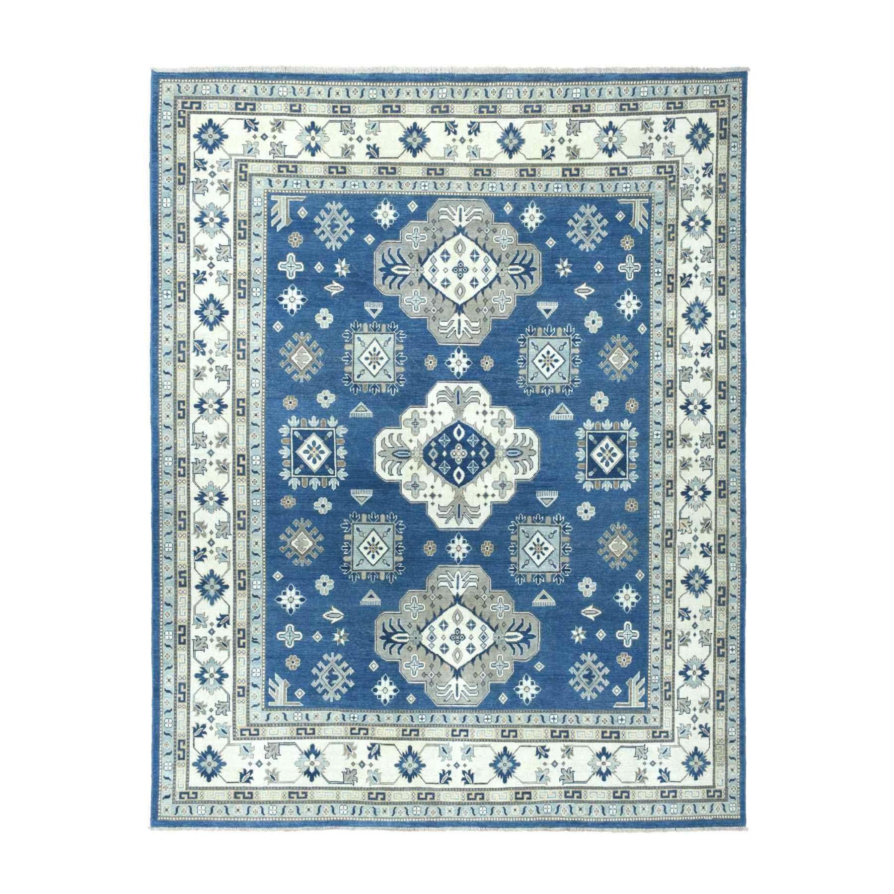 "8'X9'9"" Denim Blue Vintage Look Kazak Geometric Design Hand-Knotted Oriental Rug moaeabbc"