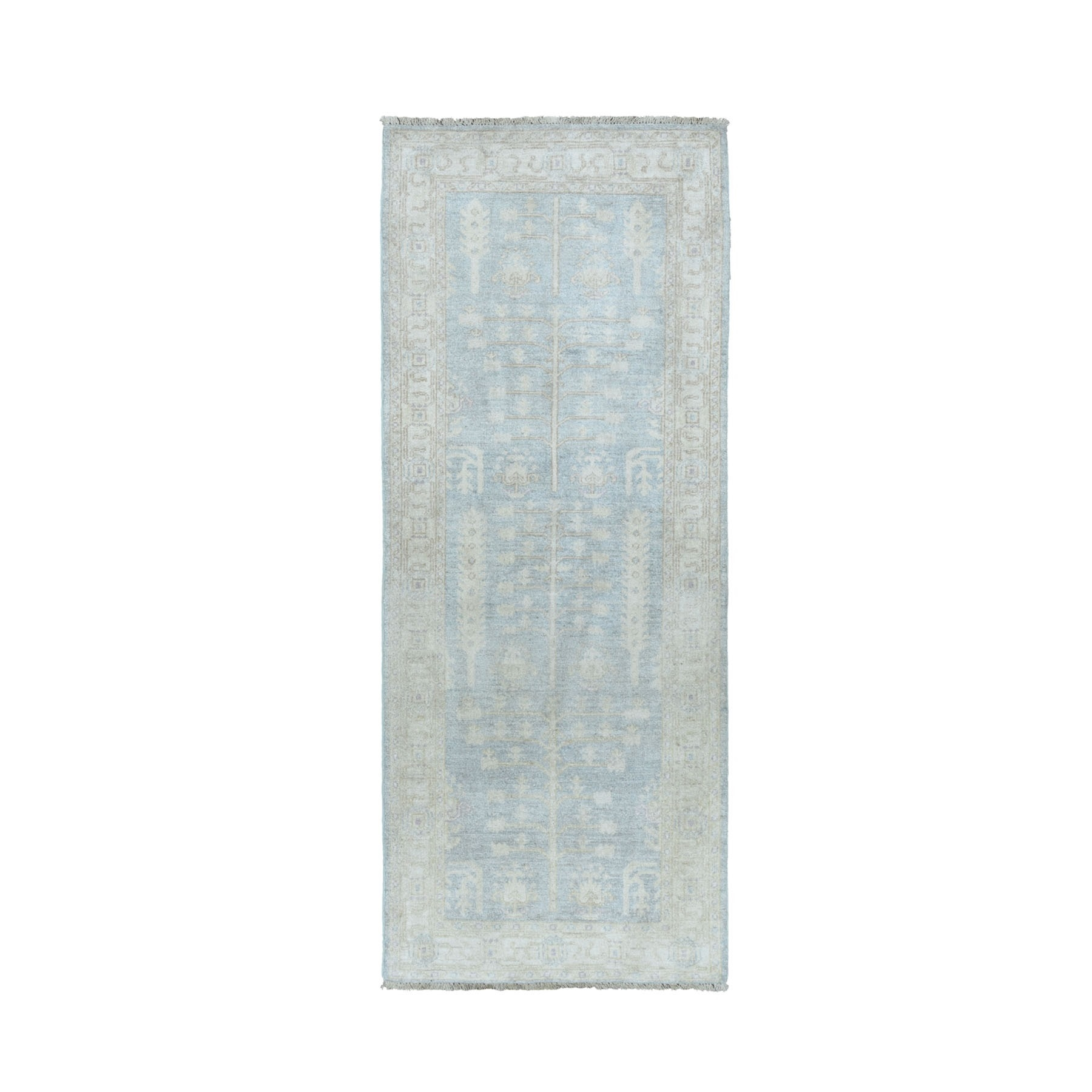 "2'7""X6'7"" White Wash Peshawar With Tree Design Pure Wool Hand Knotted Oriental Runner Rug moaeabb7"
