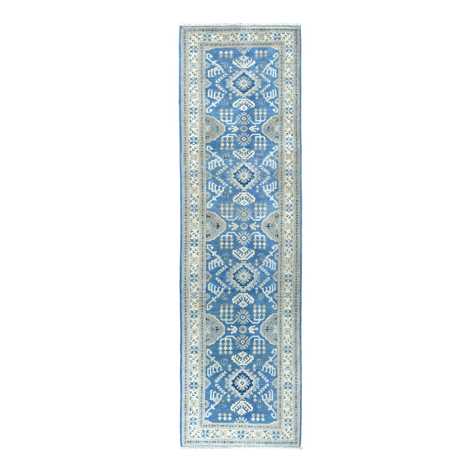 "2'7""X9'5"" Blue Vintage Look Kazak Geometric Design Hand Knotted Runner Oriental Rug moaeabca"