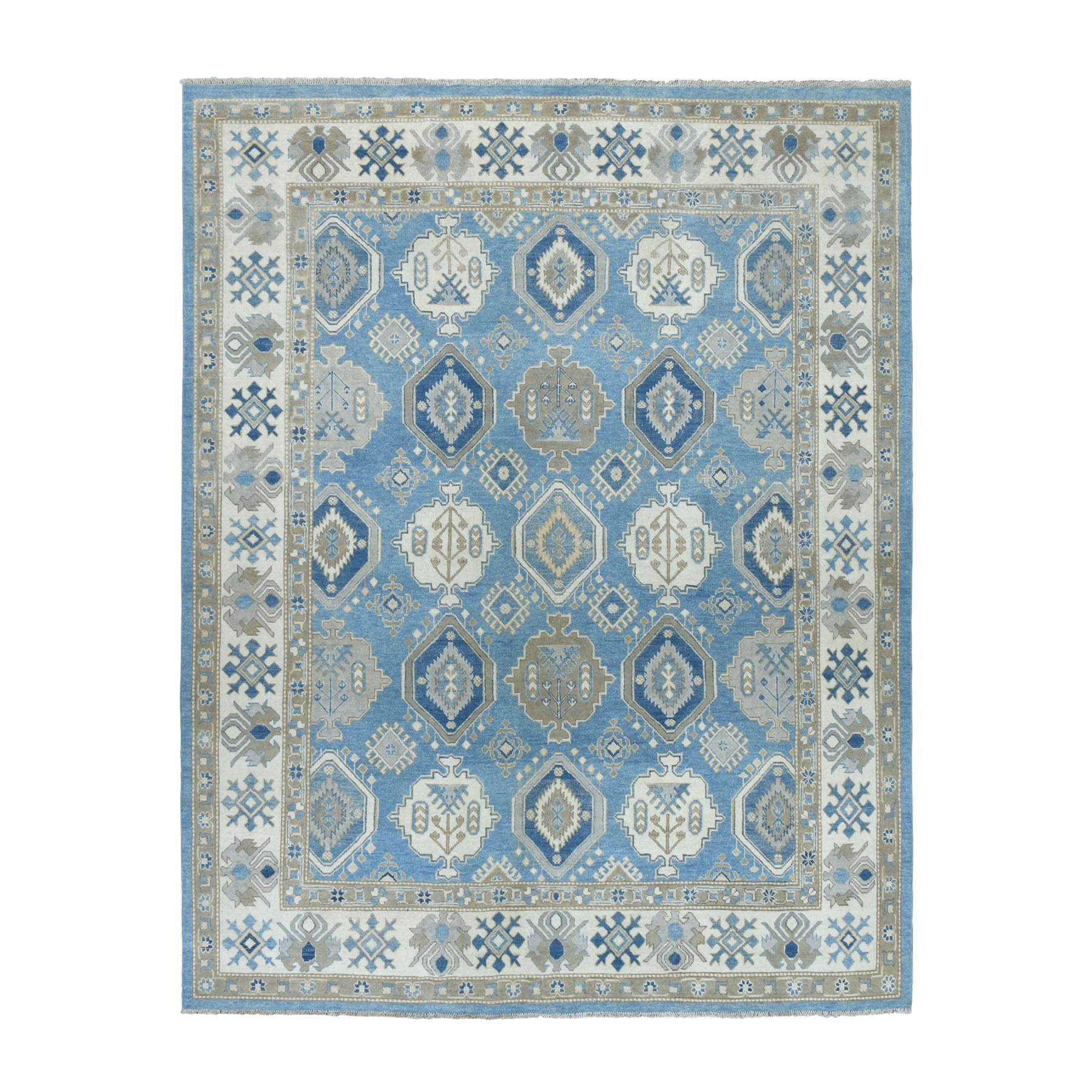 "8'1""X9'9"" Blue Vintage Look Kazak Geometric Design Pure Wool Hand-Knotted Oriental Rug moaeabce"