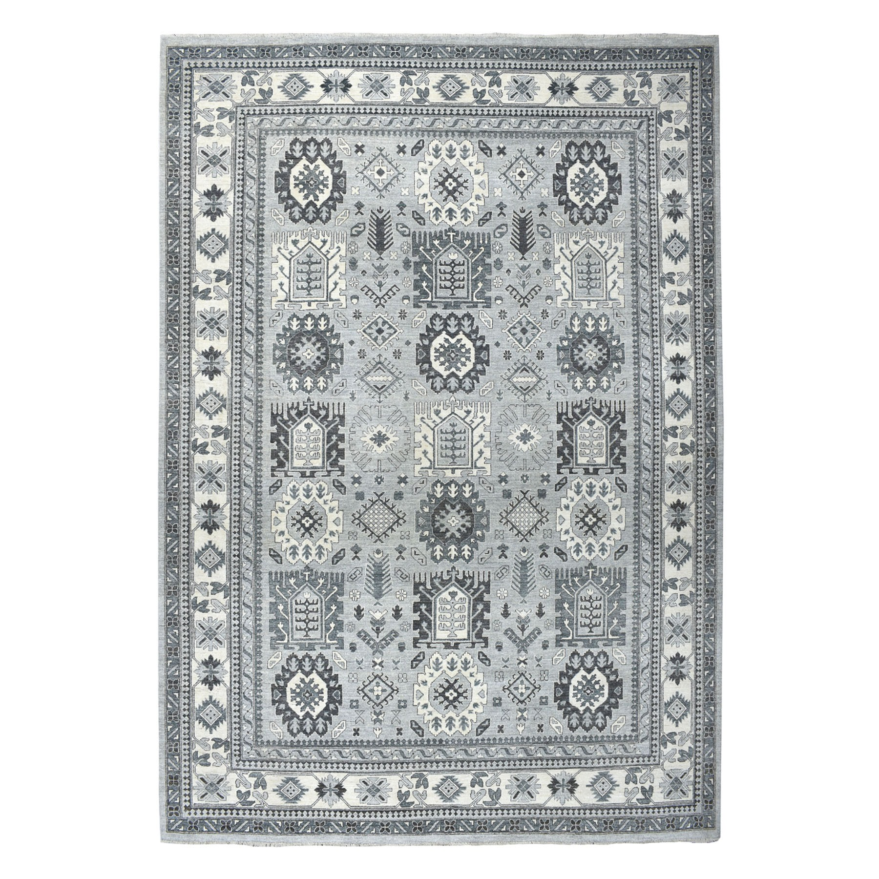 "10'3""X13'9"" Gray Pure Wool Hand-Knotted Peshawar With Karajeh Design Oriental Rug moaeabde"