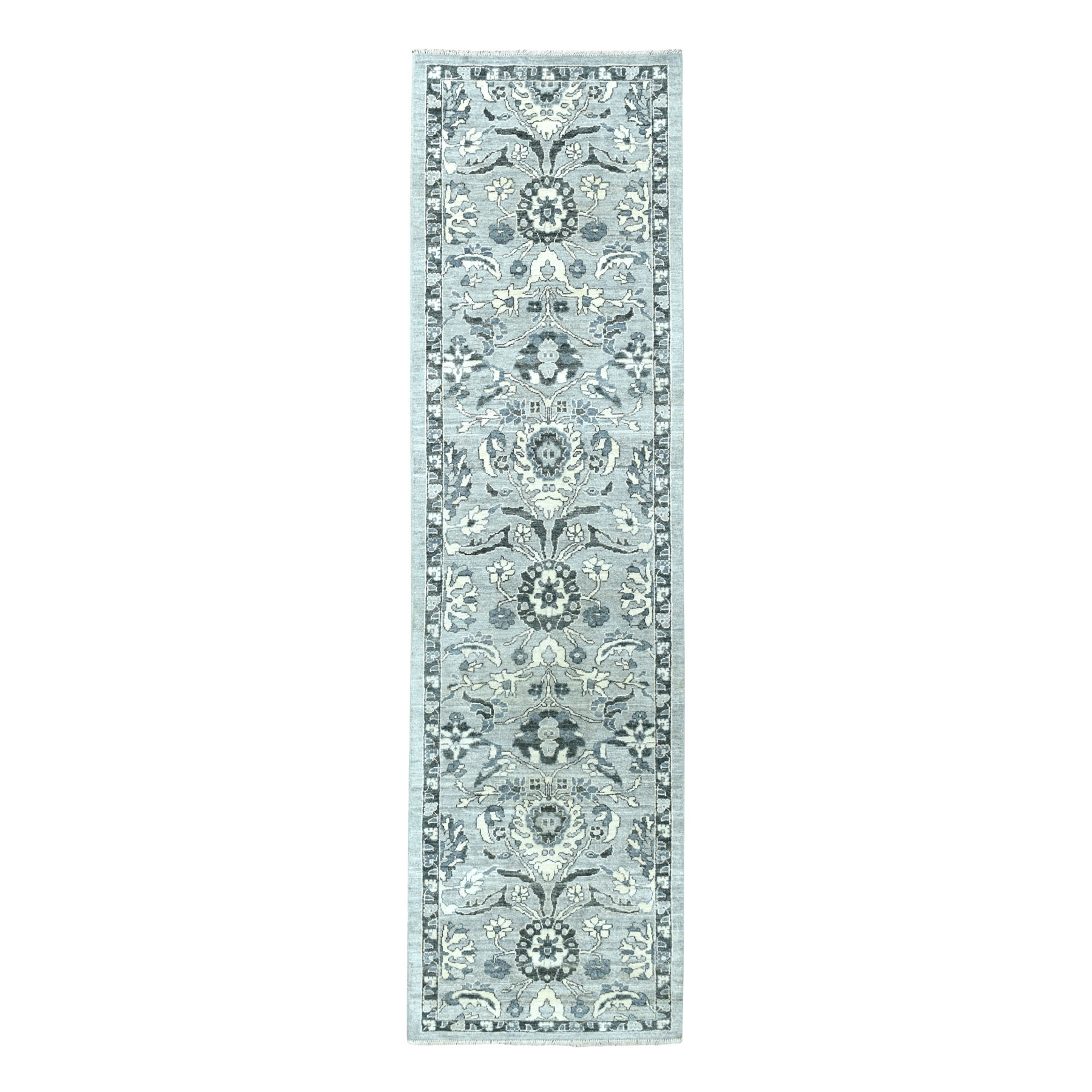 """2'8""""X9'9"""" Undyed Natural Wool Mahal Design Runner Hand Knotted Oriental Rug moaeabd6"""