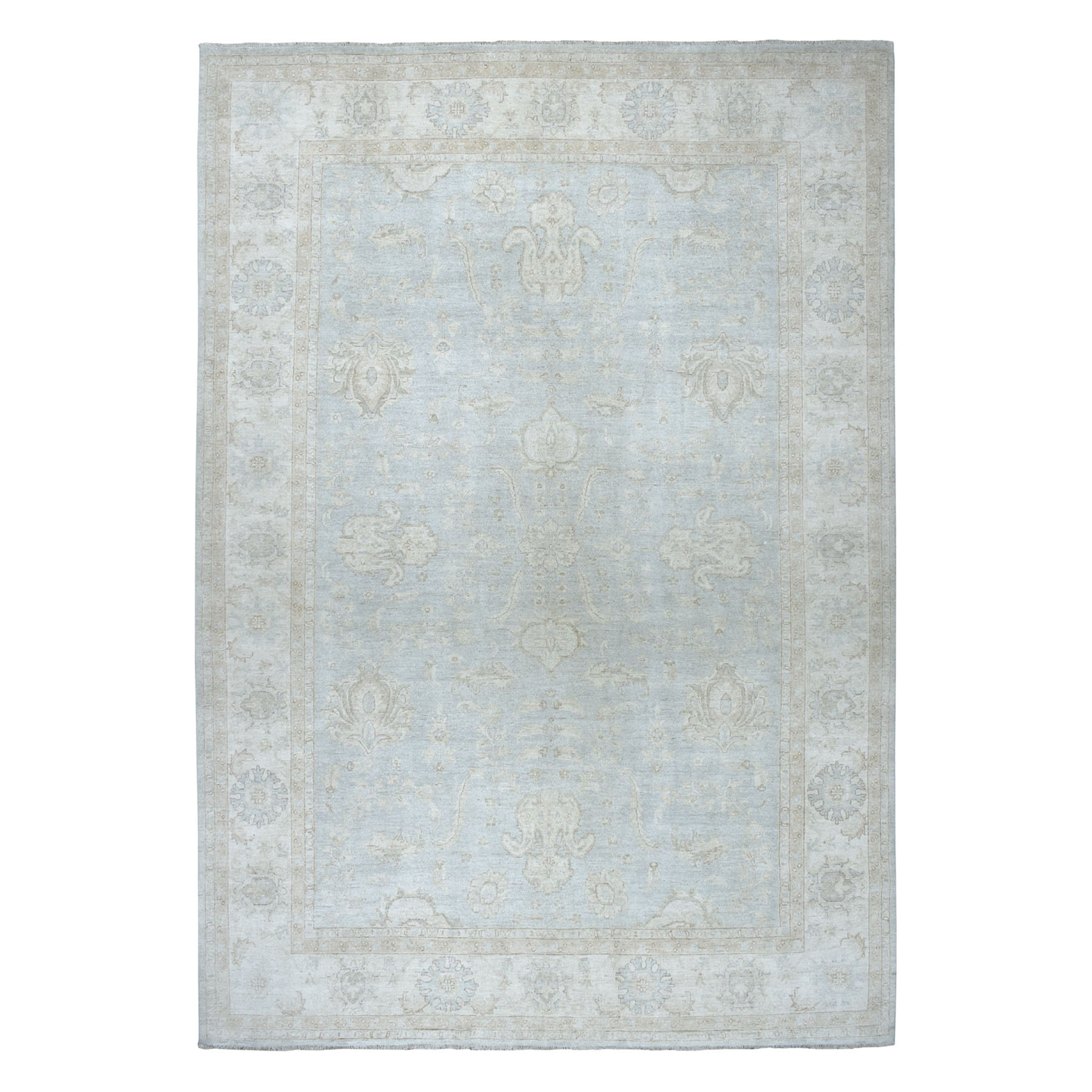 """10'X13'8"""" White Wash Peshawar Pure Wool Hand-Knotted Oriental Rug moaeabd7"""