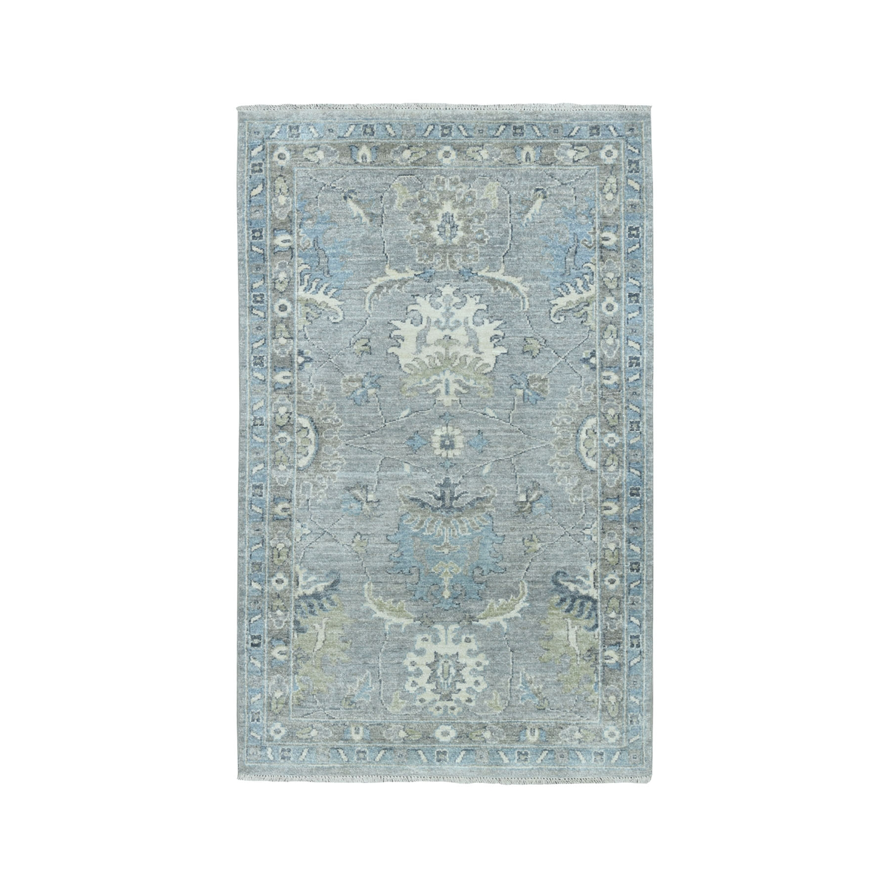 3'X5' White Wash Peshawar Pure Wool Hand-Knotted Oriental Rug moaeabe0