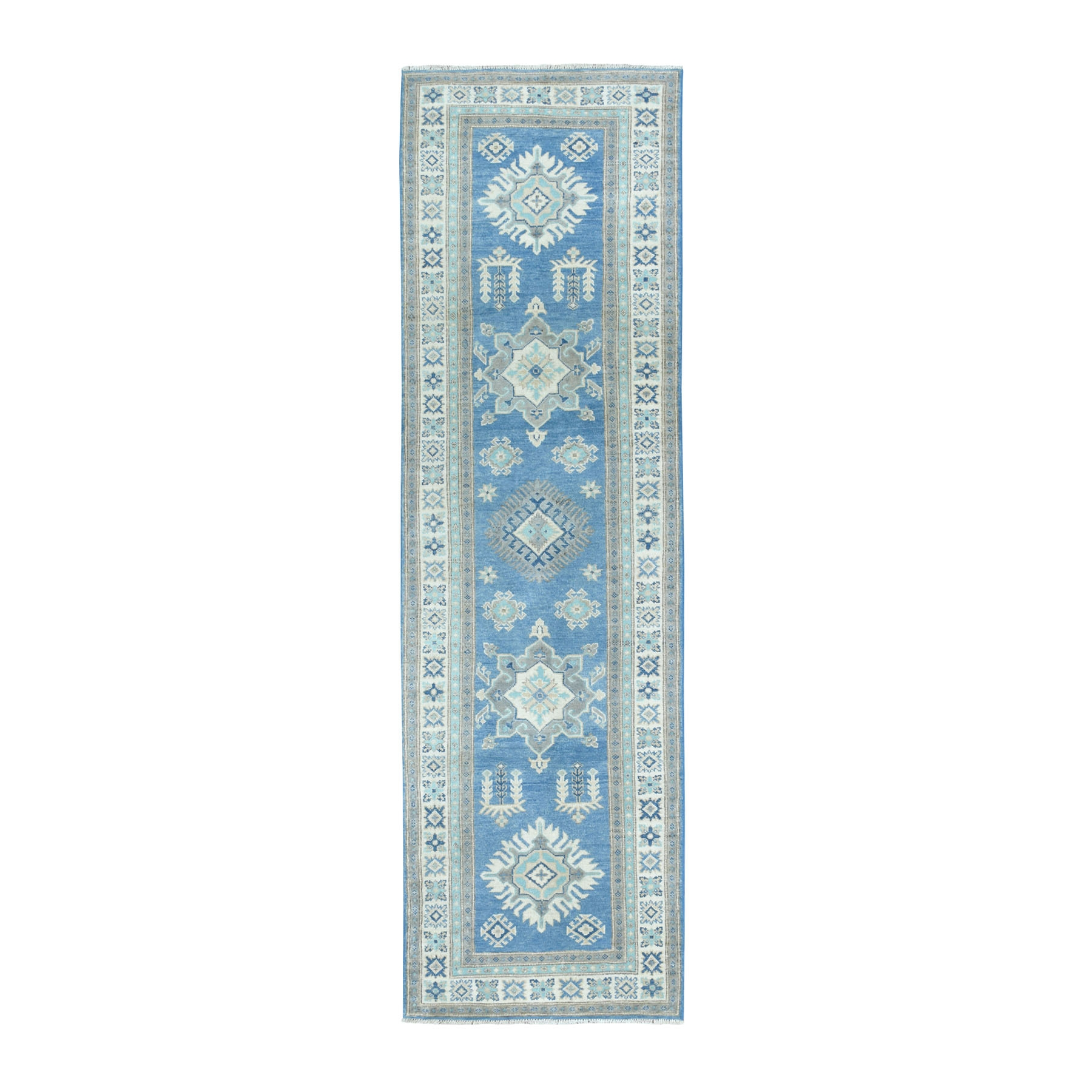 "2'7""X9' Hand Knotted Blue Vintage Look Kazak Pure Wool Runner Oriental Rug moaeabeb"