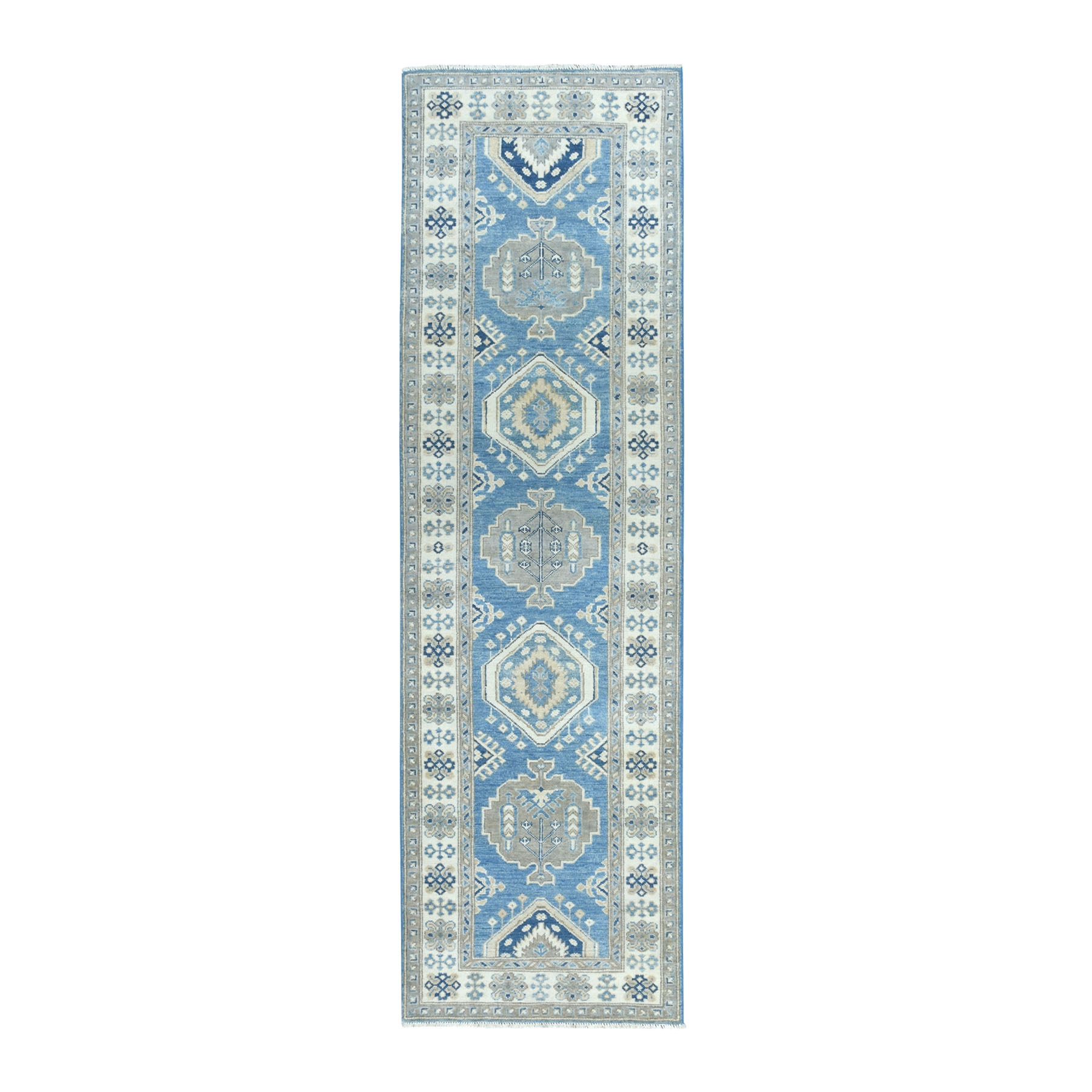 "2'7""X9'1"" Hand Knotted Blue Vintage Look Kazak Pure Wool Runner Oriental Rug moaeabec"
