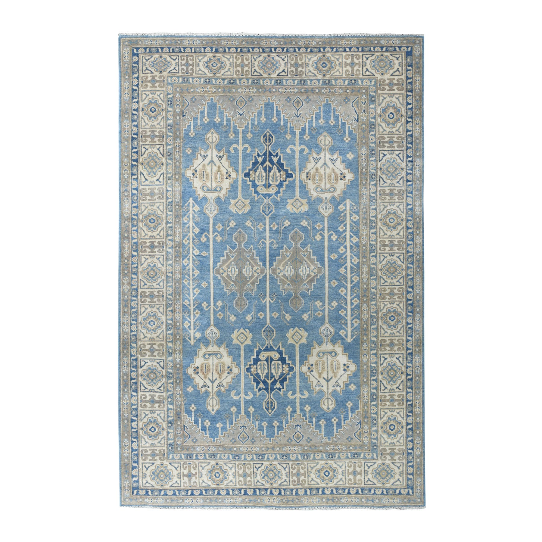 """6'X8'7"""" Hand Knotted Blue Vintage Look Kazak Pure Wool Oriental Rug moaeabe6"""