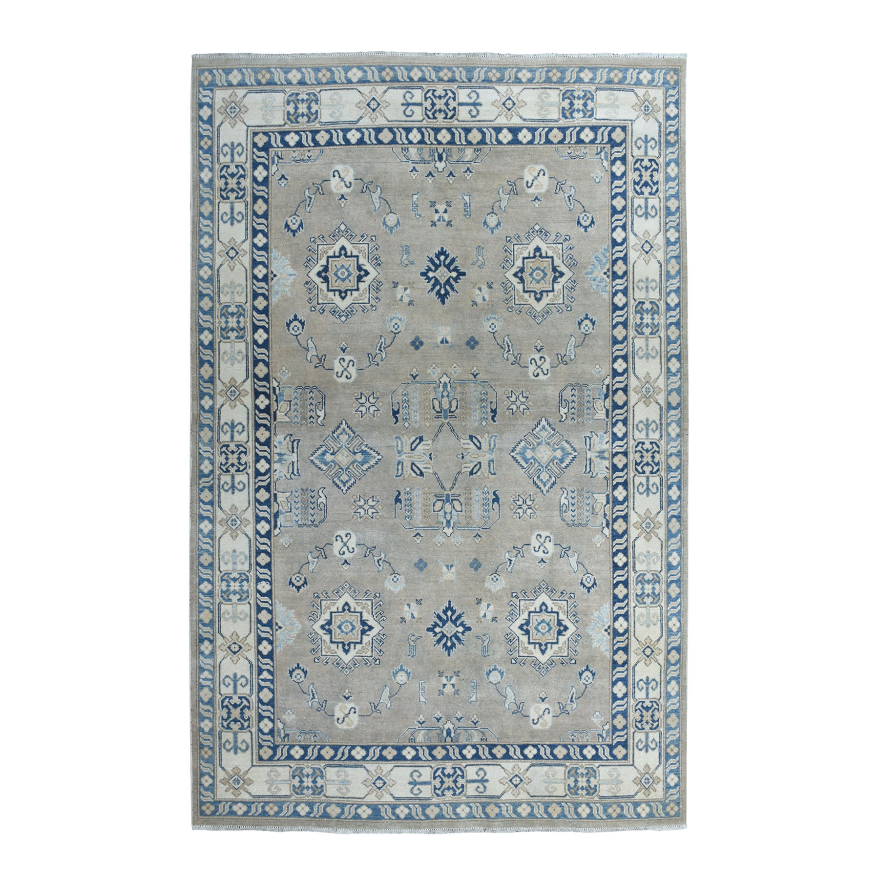 """5'10""""X8'9"""" Hand Knotted Pure Wool Vintage Look Kazak Oriental Rug moaeabe9"""