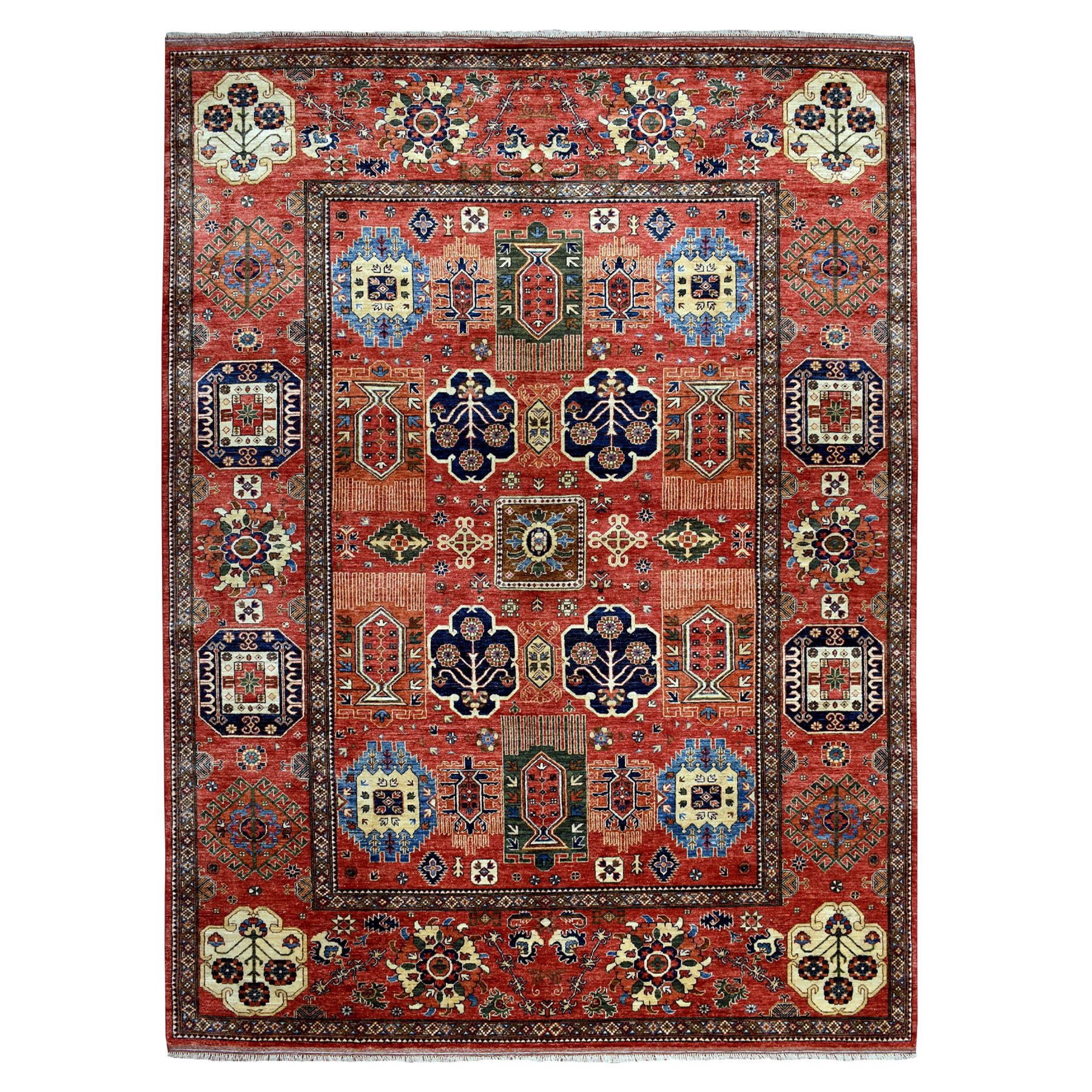 "9'1""X12' Red Afghan Ersari Pure Wool Hand-Knotted Oriental Rug moaeab60"