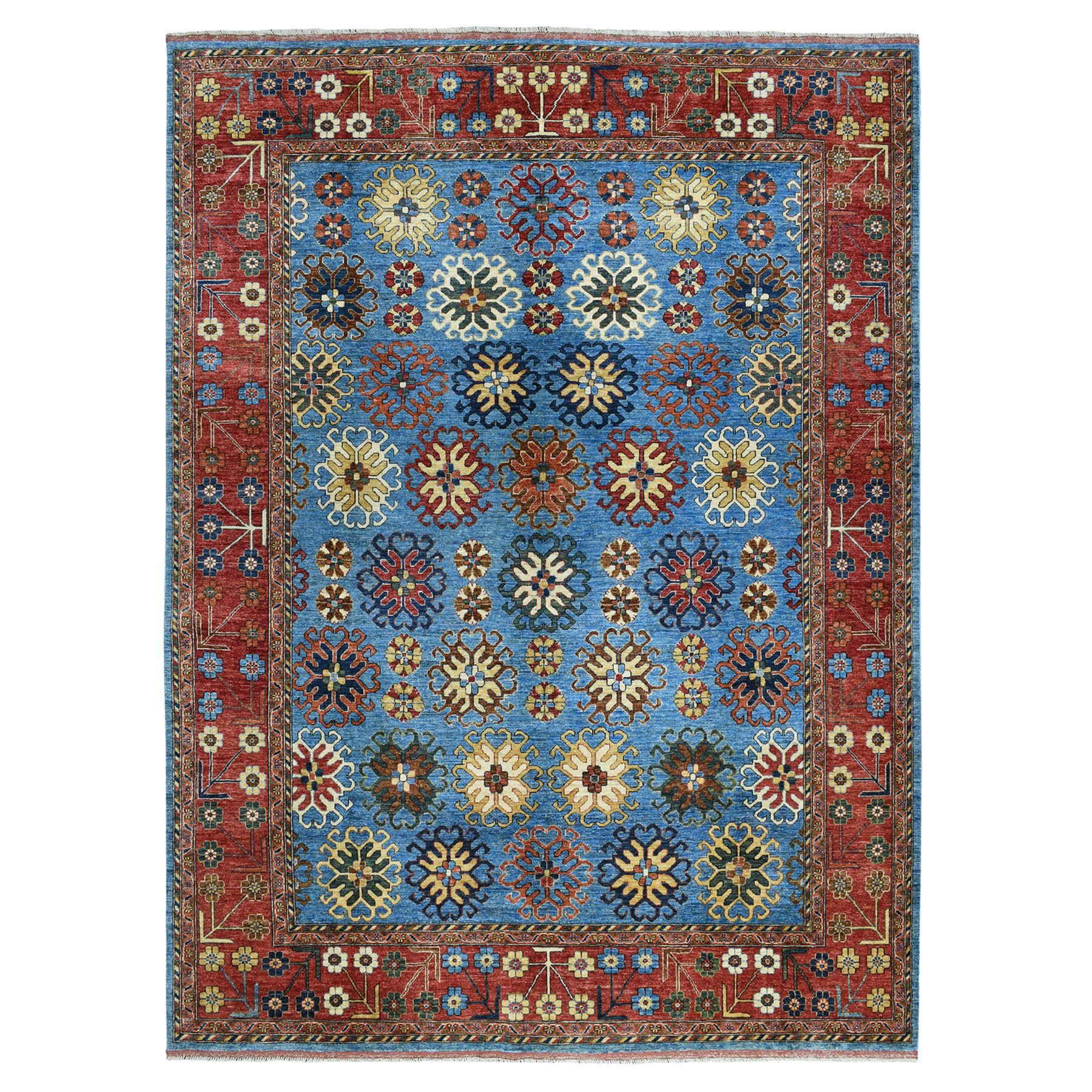 "9'x11'5"" Blue All Over Design Afghan Ersari Pure Wool Hand-Knotted Oriental Rug 51261"