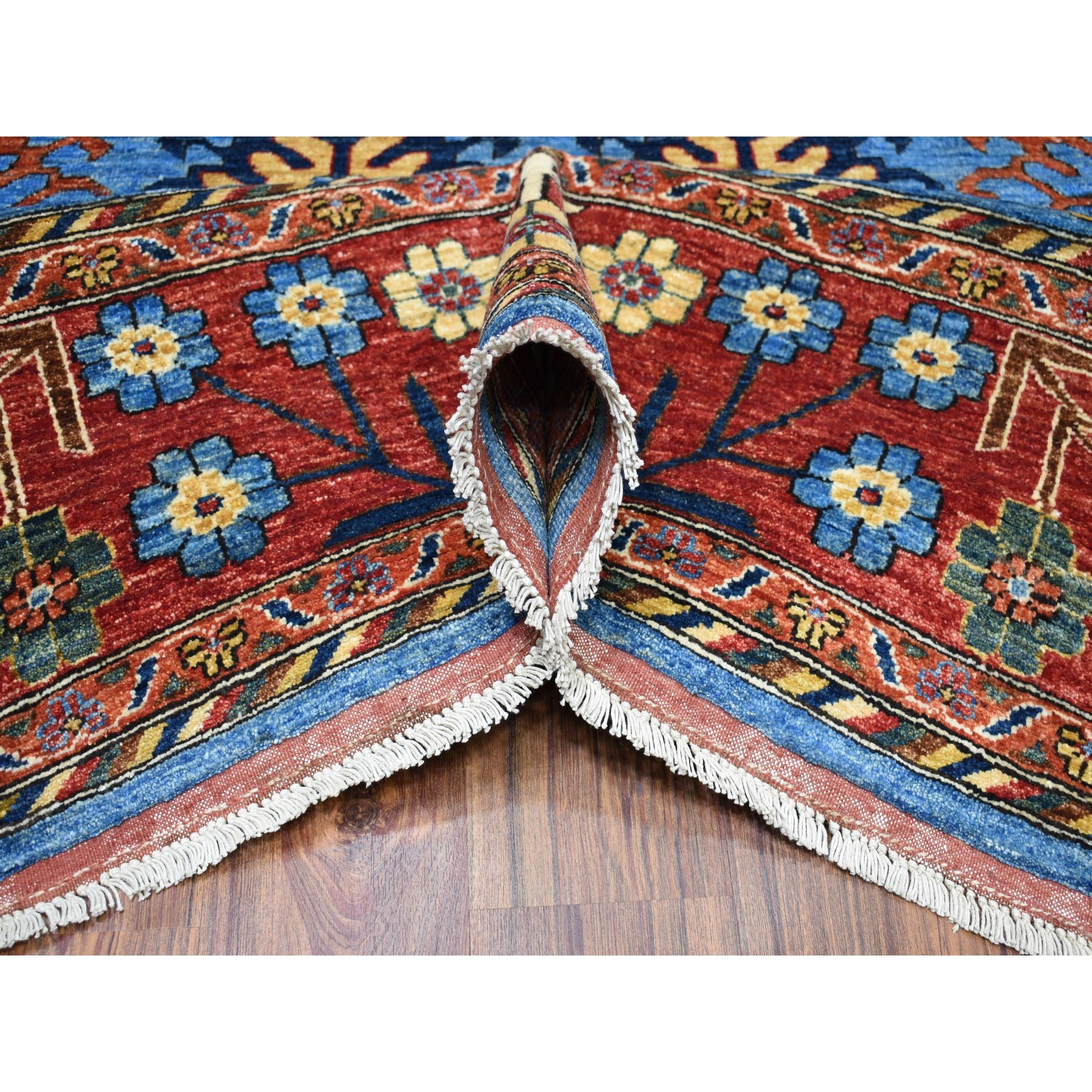 9-x11-5  Blue All Over Design Afghan Ersari Pure Wool Hand-Knotted Oriental Rug